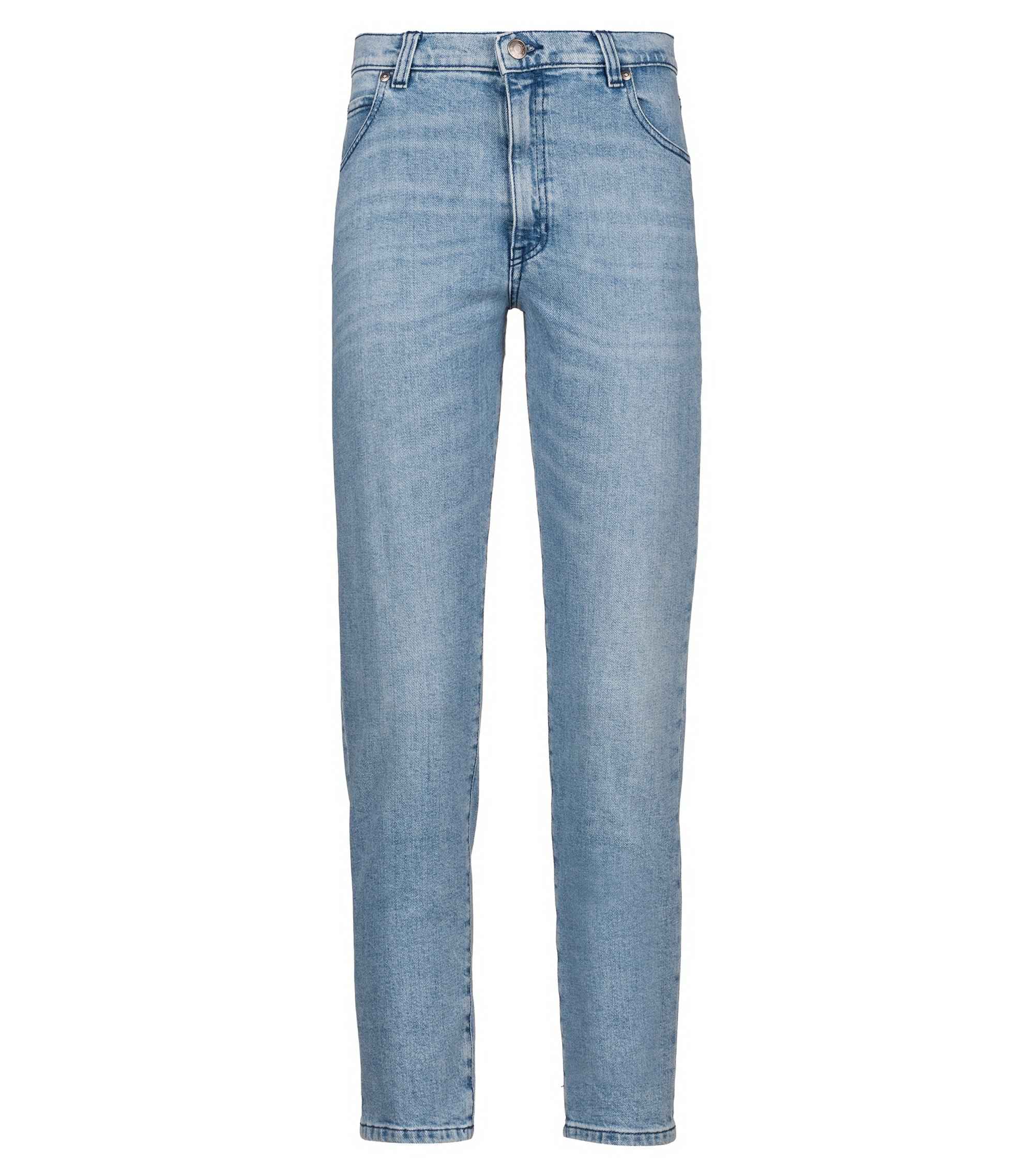 Slim-fit cropped jeans in Italian stretch denim, Blue