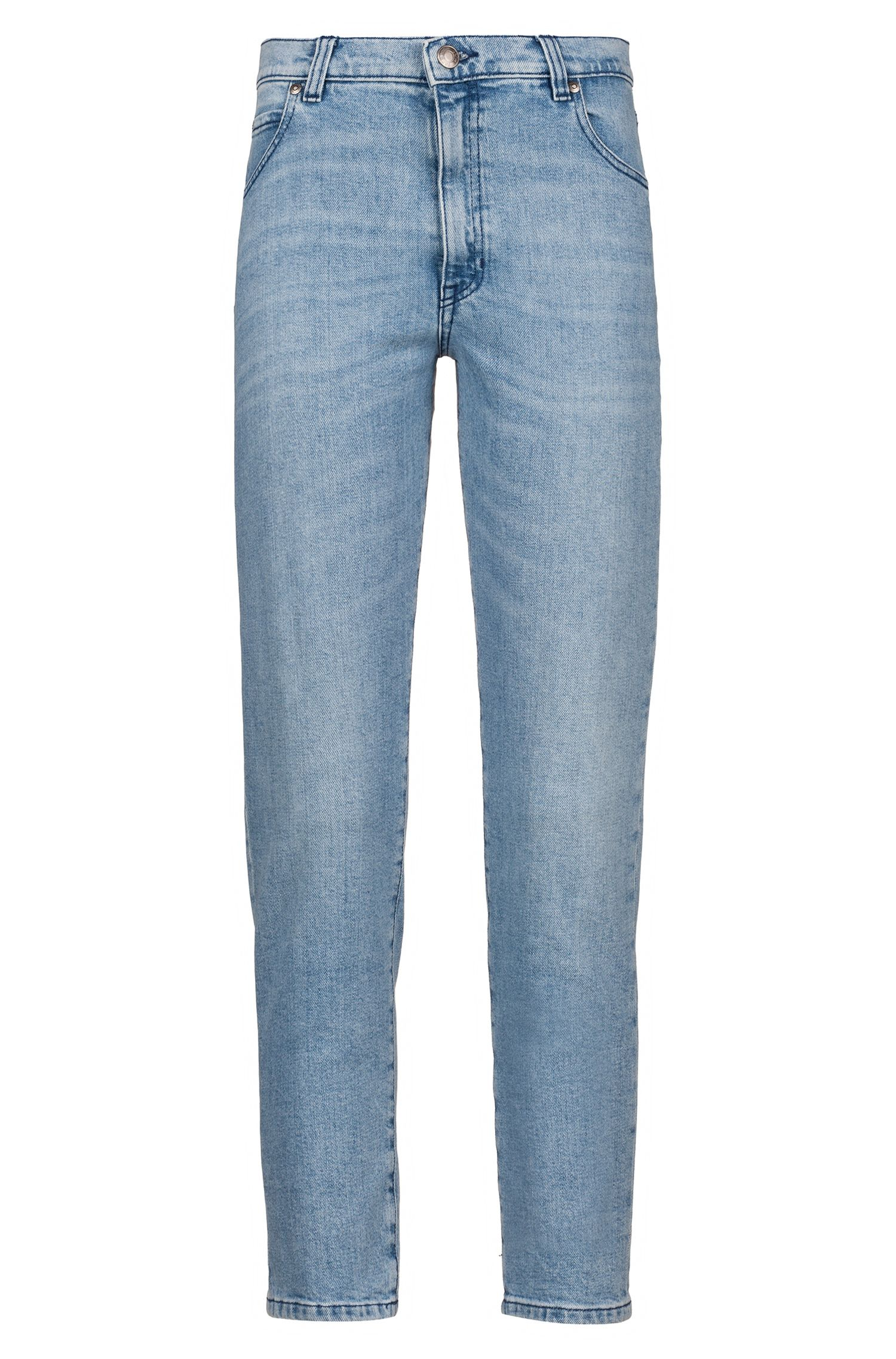 Slim-Fit Jeans aus italienischem Stretch-Denim in Cropped-Länge, Blau