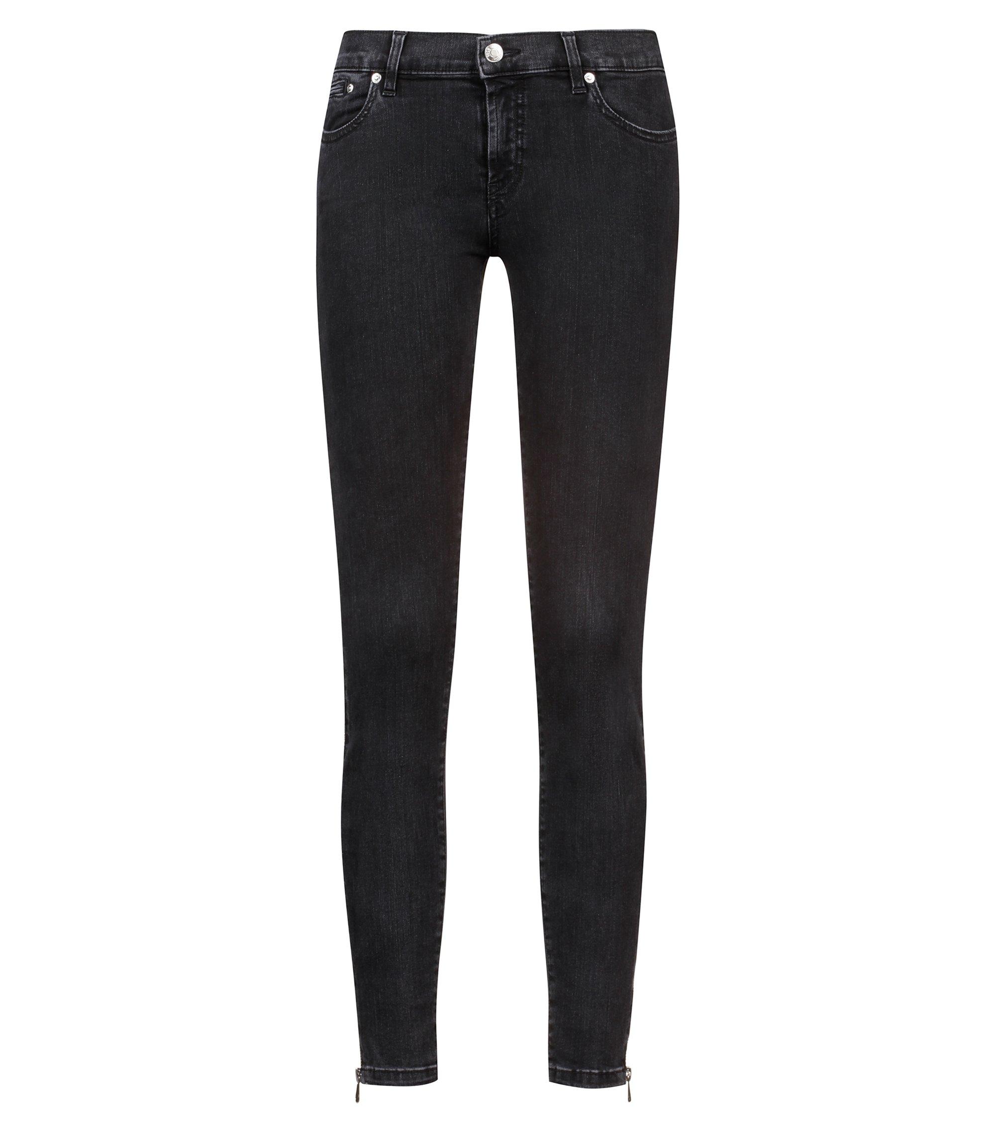 Skinny-Fit Cropped-Jeans aus Superstretch-Denim mit seitlichen Reißverschlüssen, Anthrazit