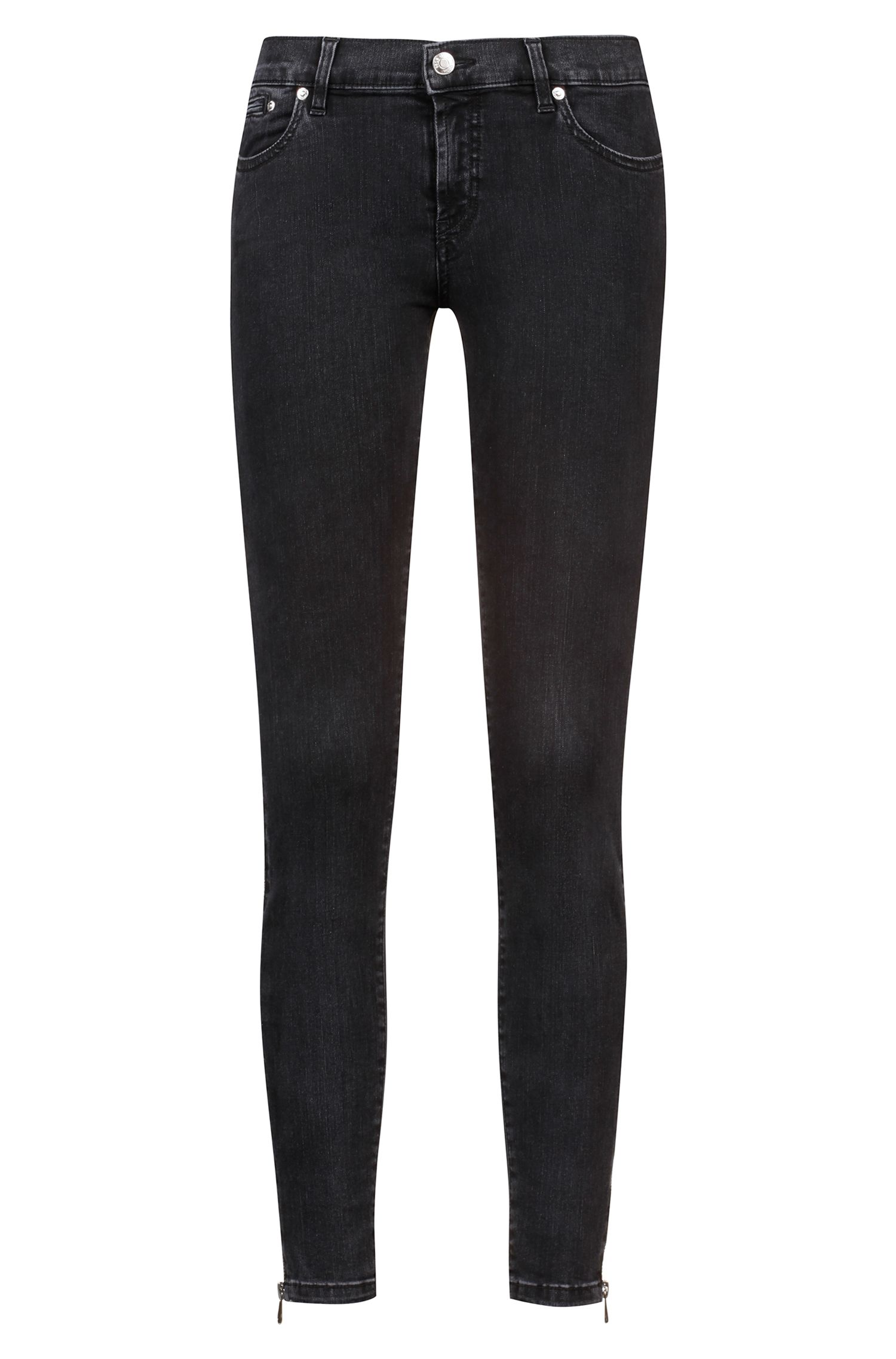 Cropped black skinny-fit jeans with zipped side seams, Anthracite