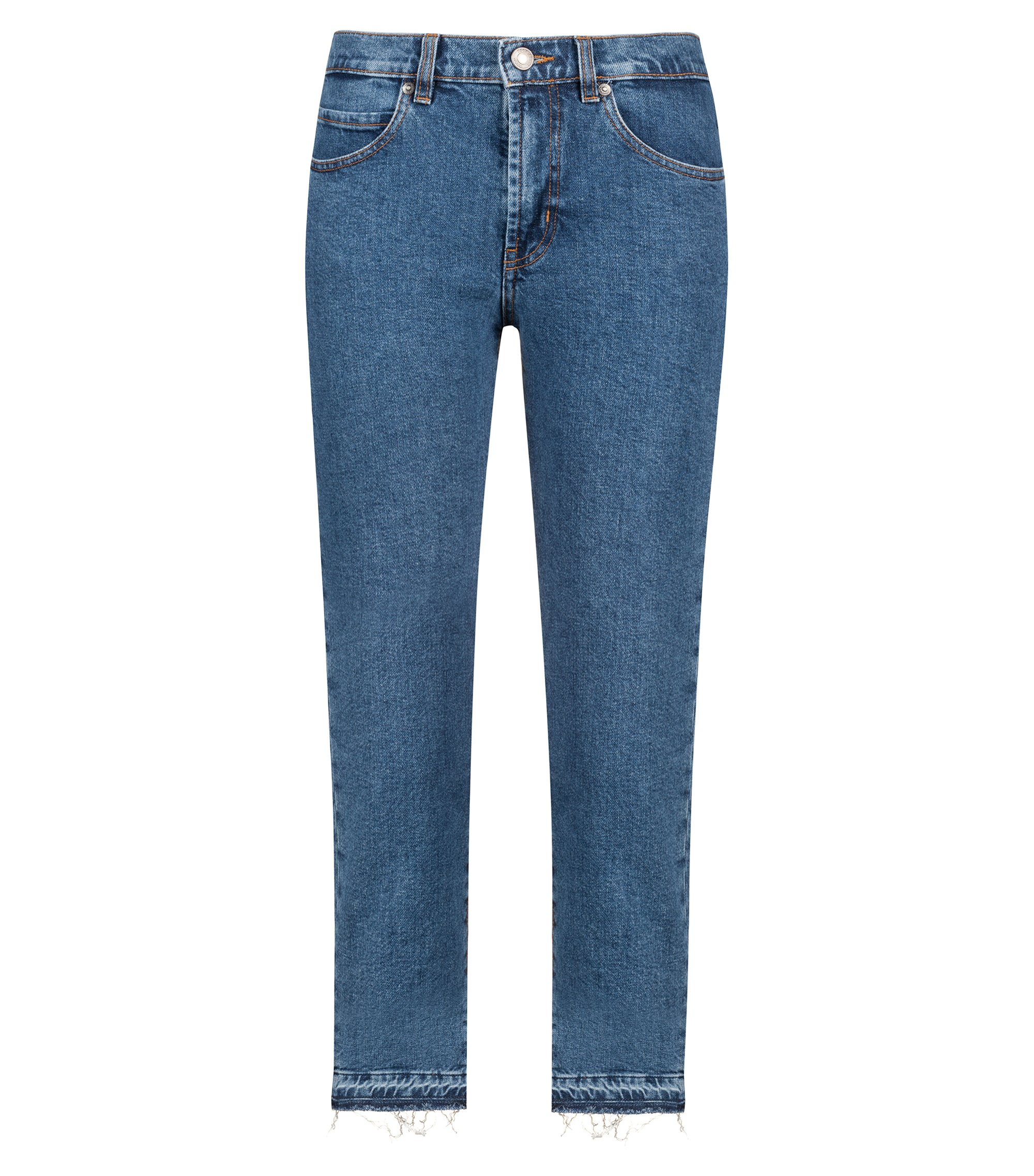 Slim-fit cropped jeans in Italian comfort-stretch denim, Bleu