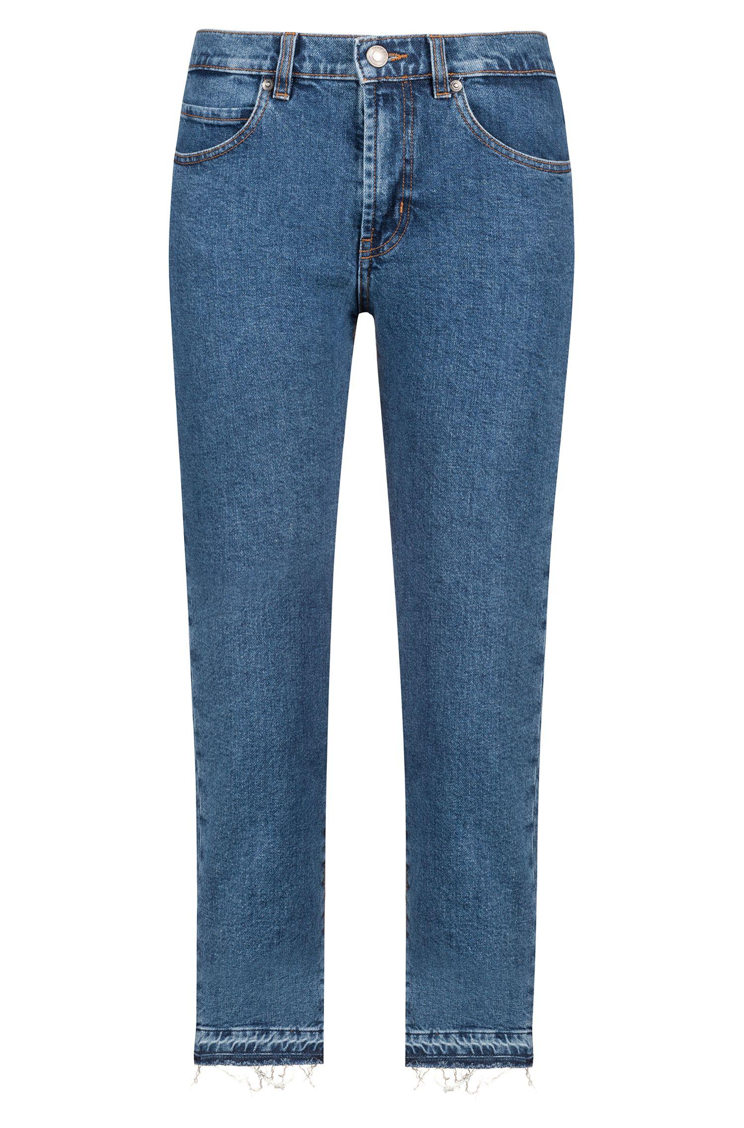 Slim-fit cropped jeans in Italian comfort-stretch denim, Blue