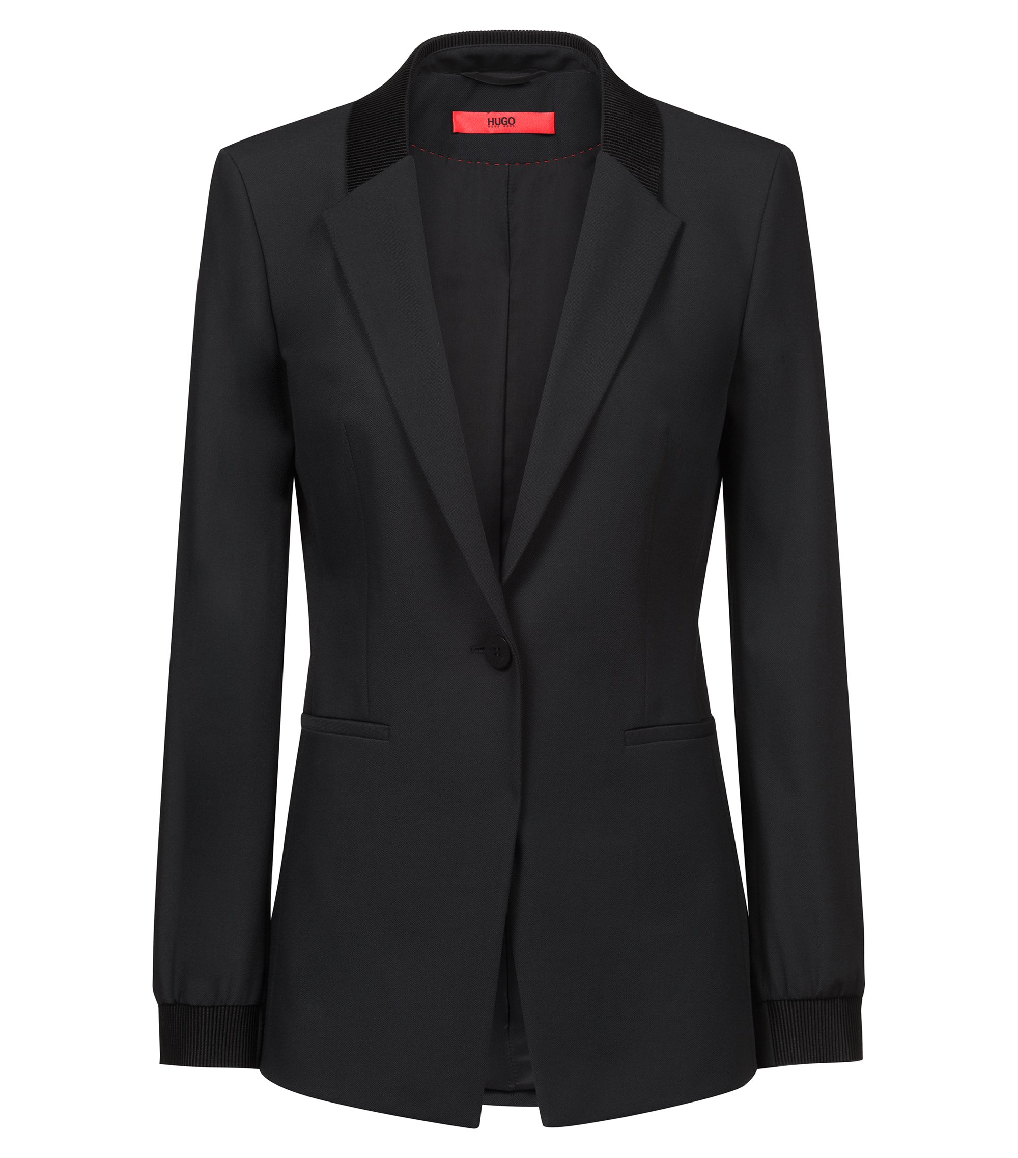Regular-fit jacket with ribbon trims, Black