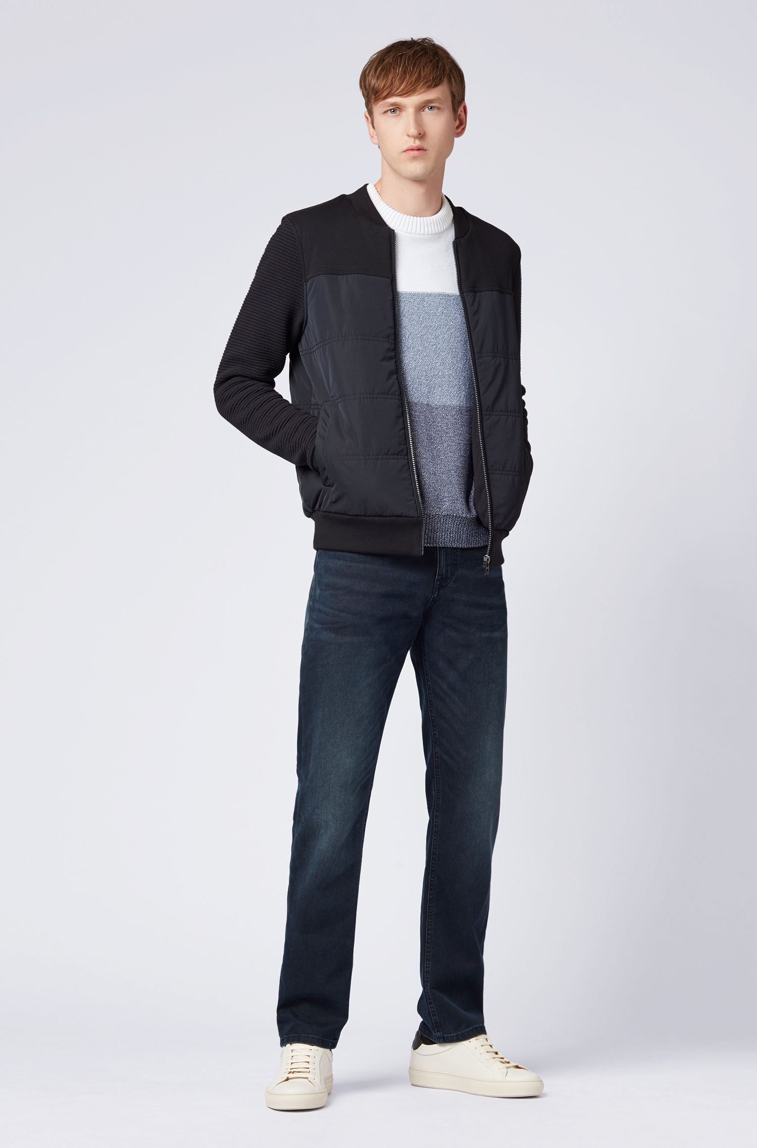 Jean Relaxed Fit en denim stretch italien bleu noir, Bleu foncé
