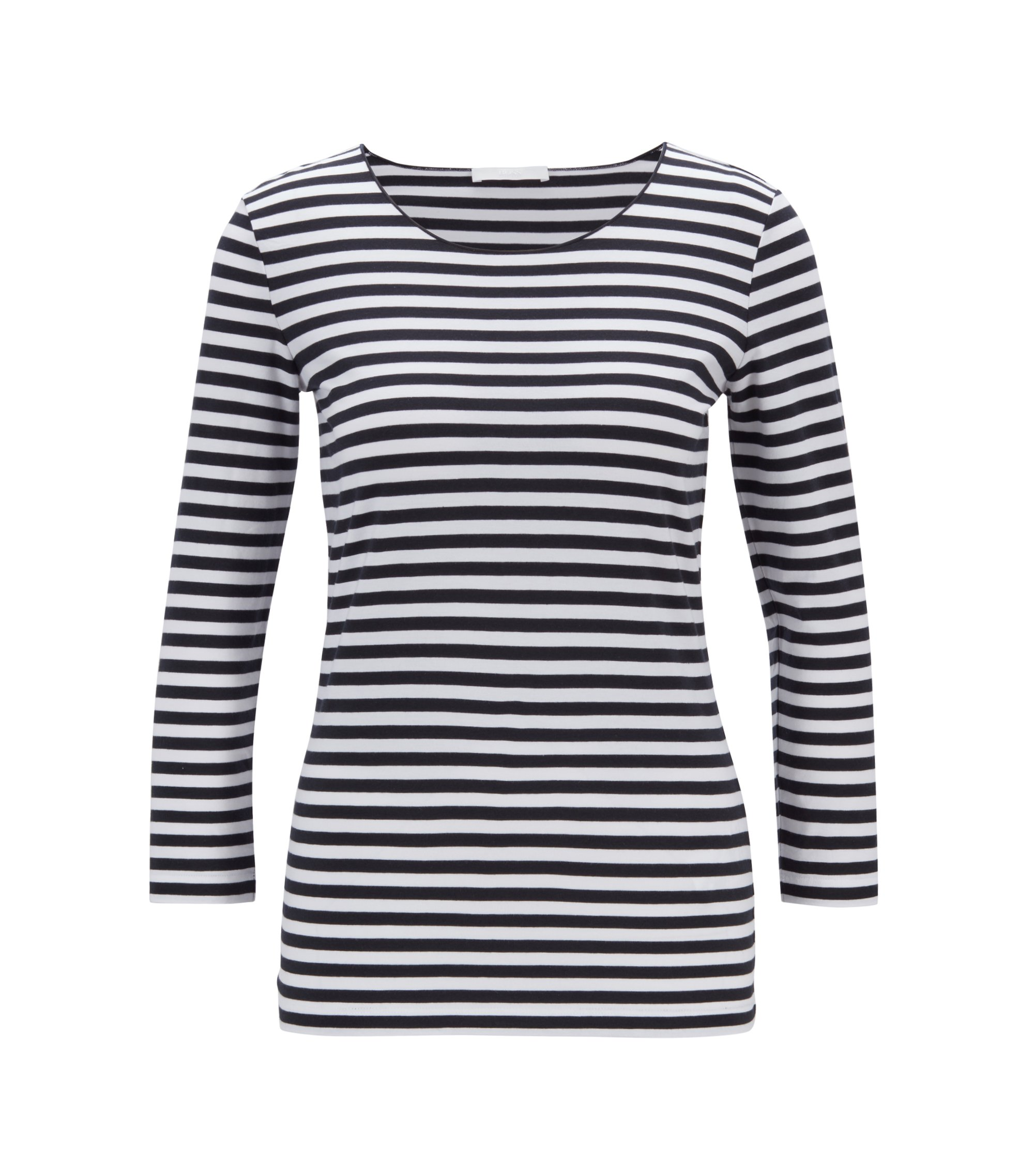 Breton-striped top in stretch jersey with modal, Fantasía
