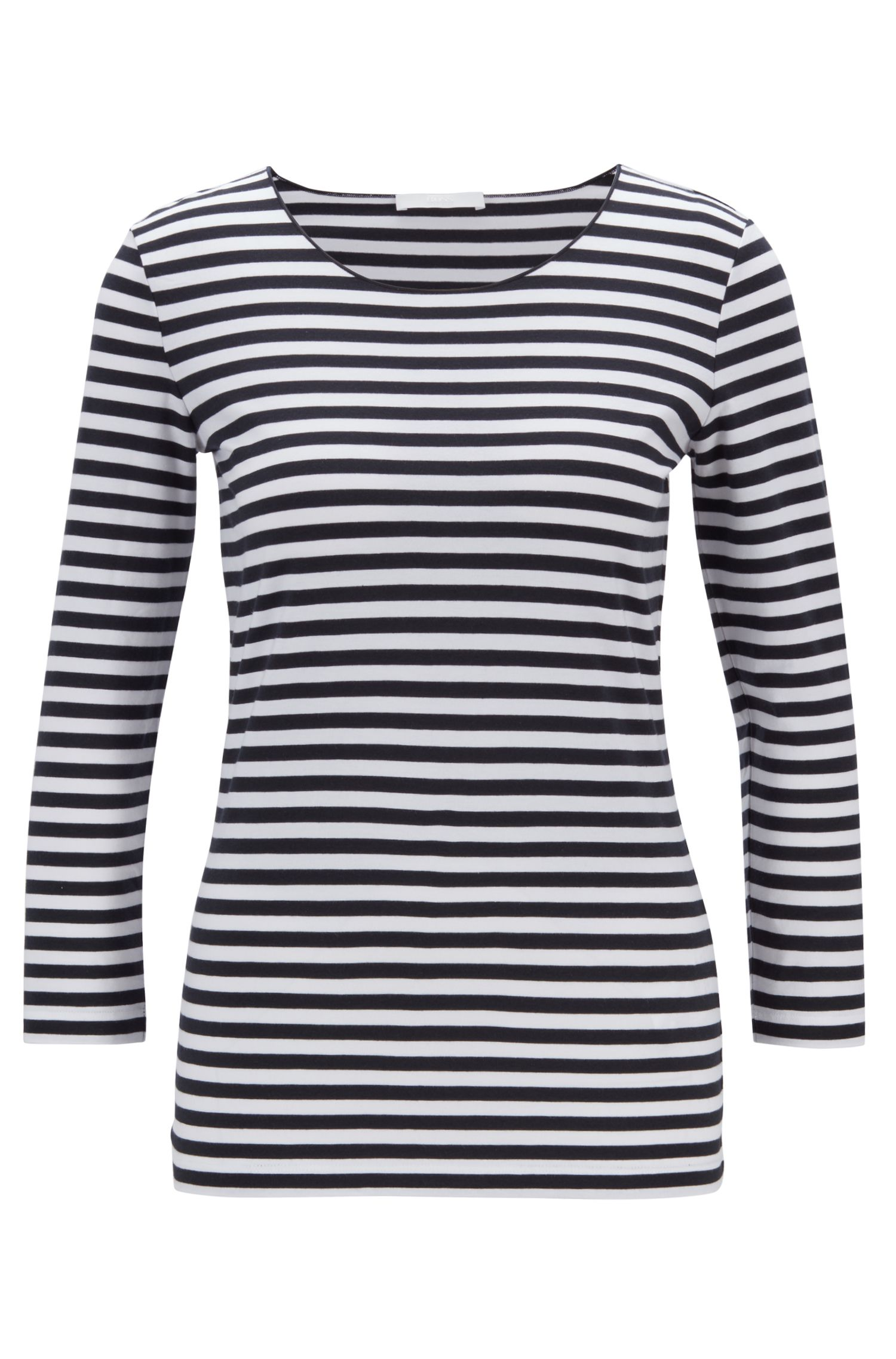 Breton-striped top in stretch jersey with modal, Patterned