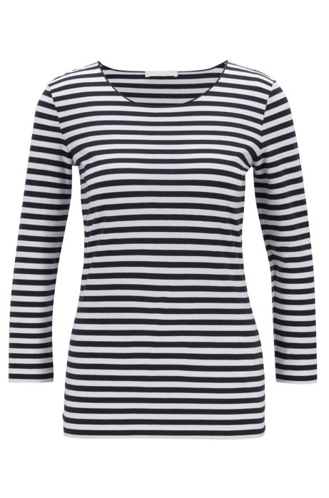Slim-fit striped top in stretch jersey, Patterned