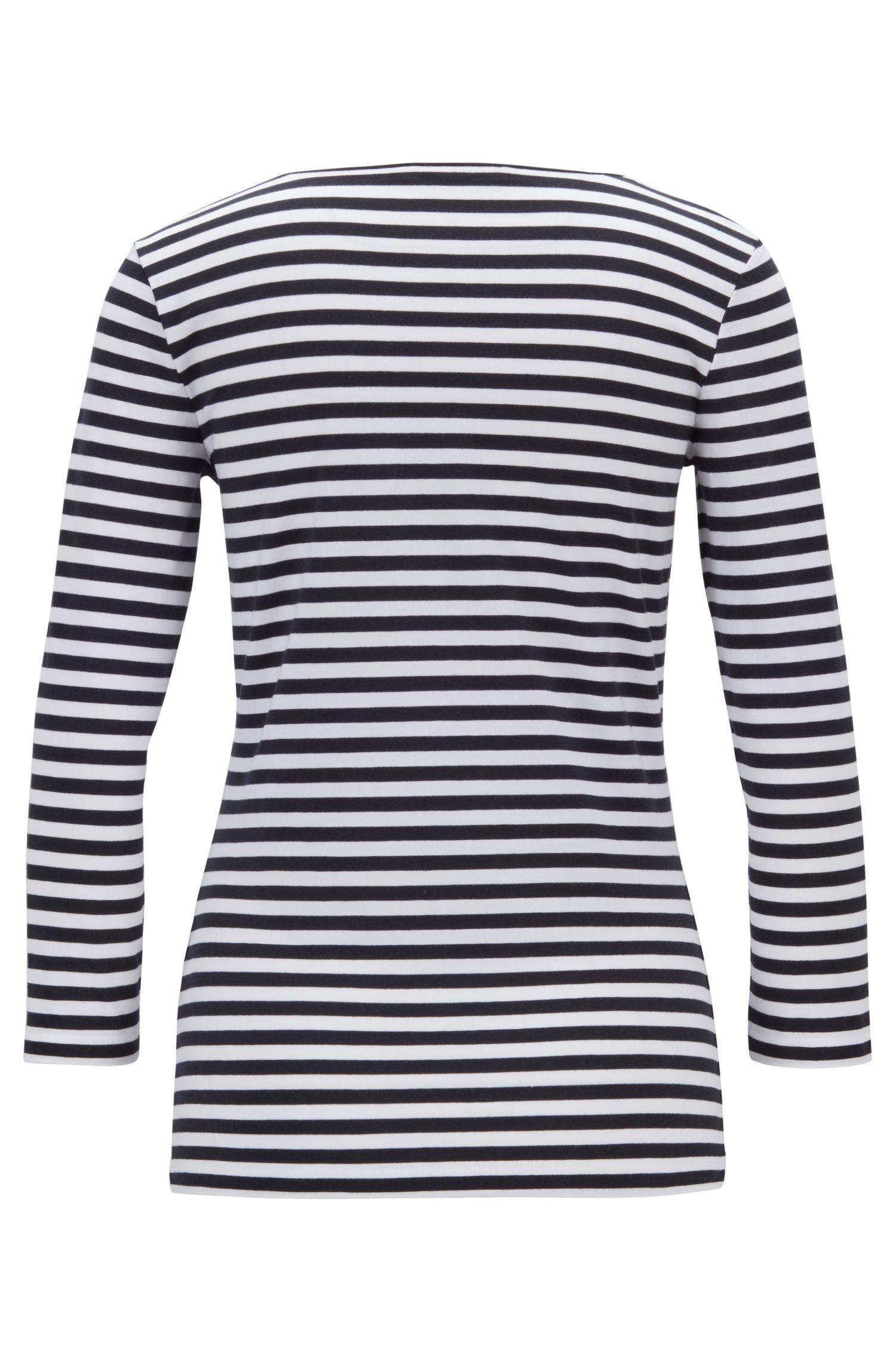 Maglia a righe Breton in jersey elasticizzato con modal, A disegni