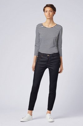 Striped scoop-neck top in stretch jersey, Patterned