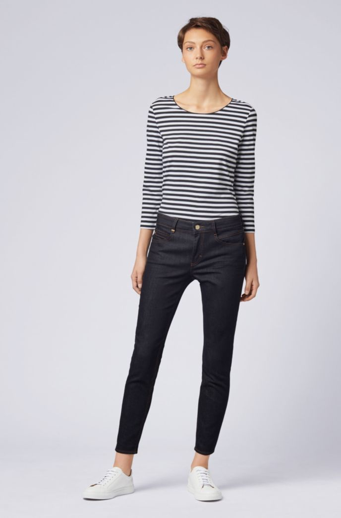 Striped scoop-neck top in stretch jersey