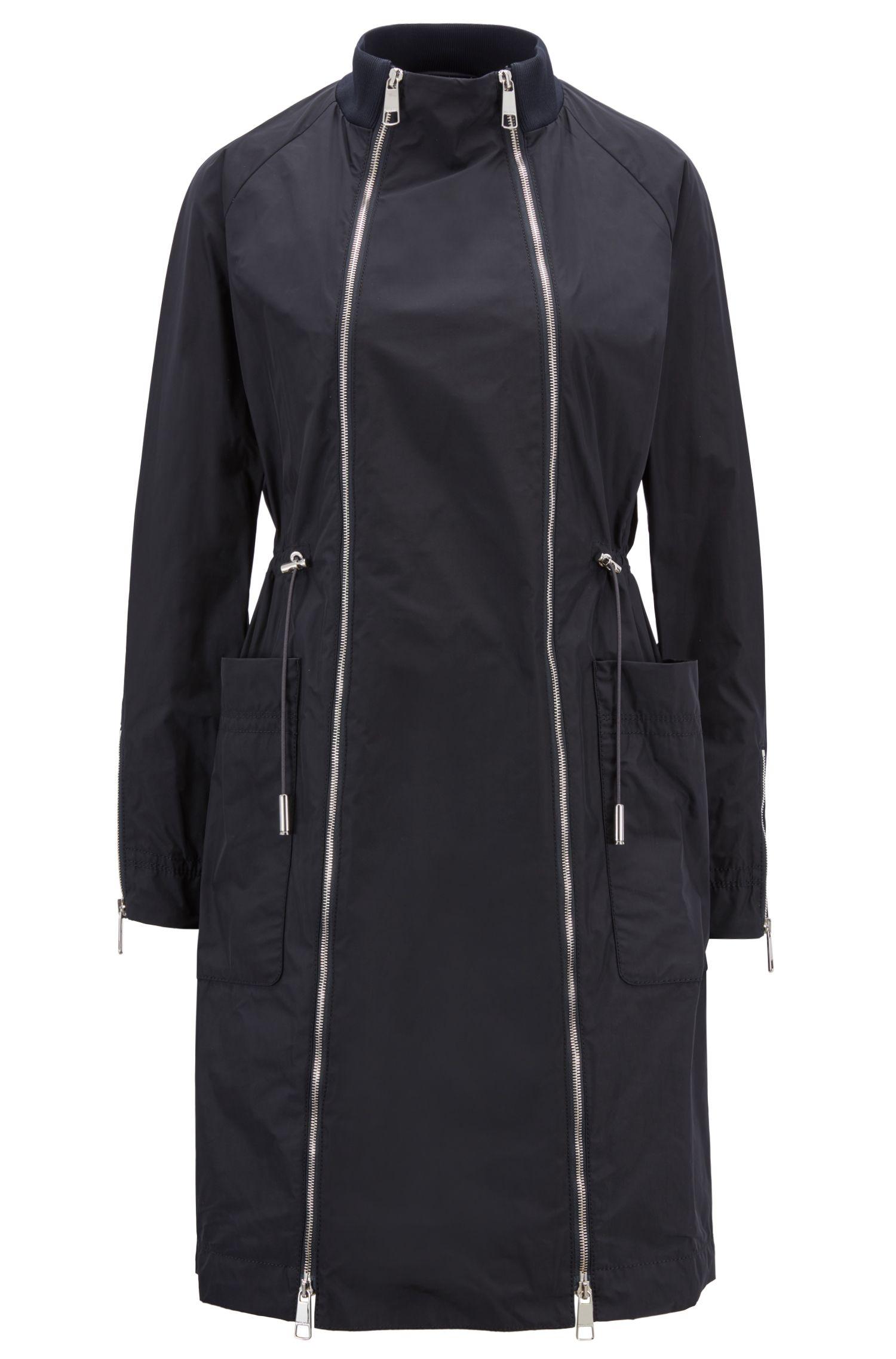 Italian-made coat with double zip and drawstring waist, Dark Blue