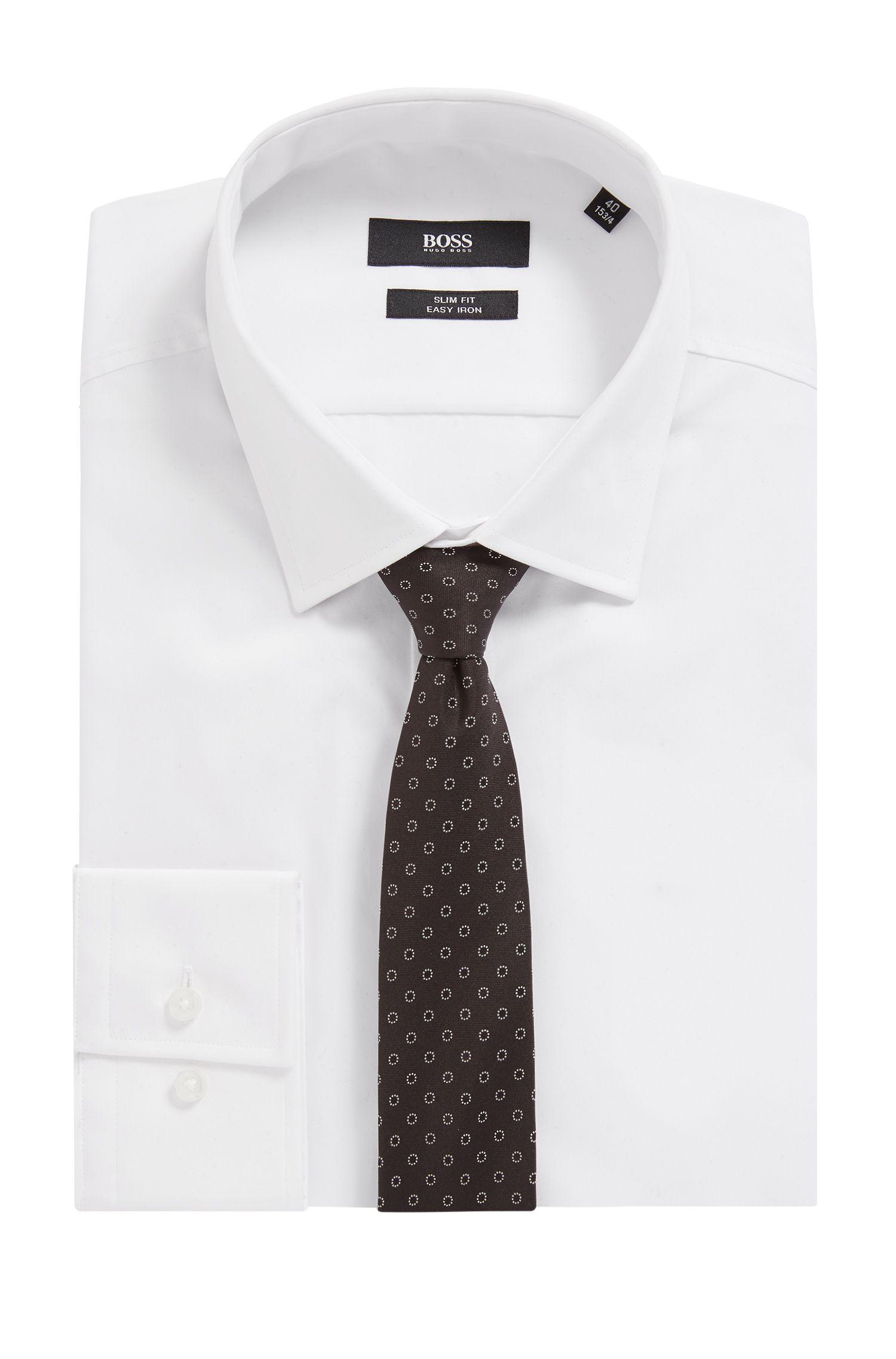 Cravate en soie déperlante à motif de la collection Travel Line, Noir