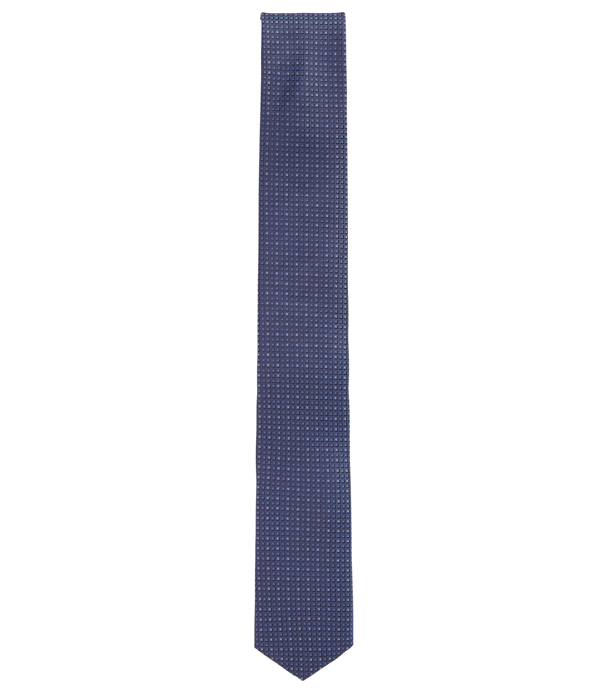 Travel Line patterned-silk tie with water-repellent finish, Blue