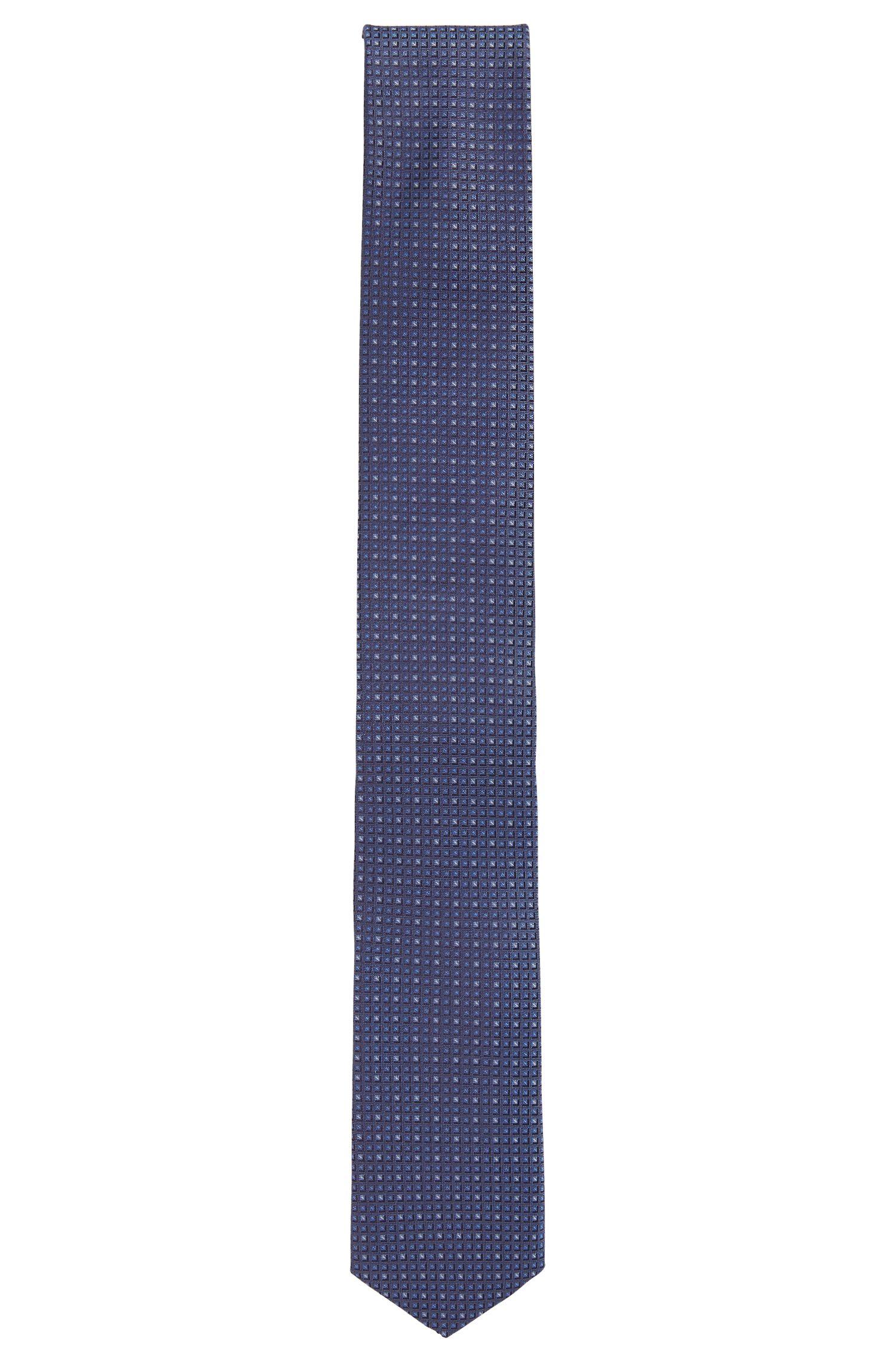 Corbata de seda estampada Travel Line con acabado repelente al agua, Azul