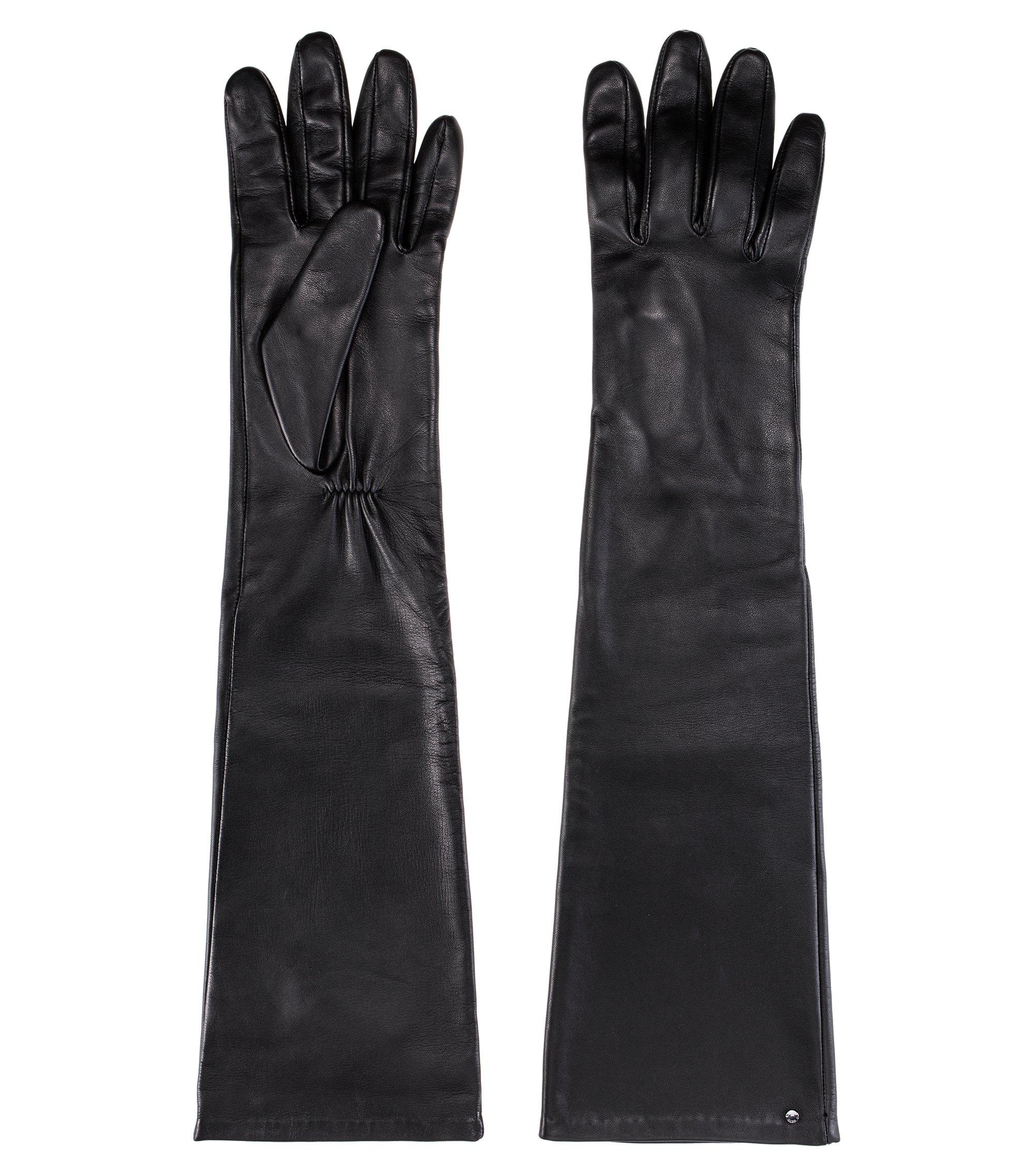 Guantes largos en napa de piel de cordero con remache de la marca, Negro