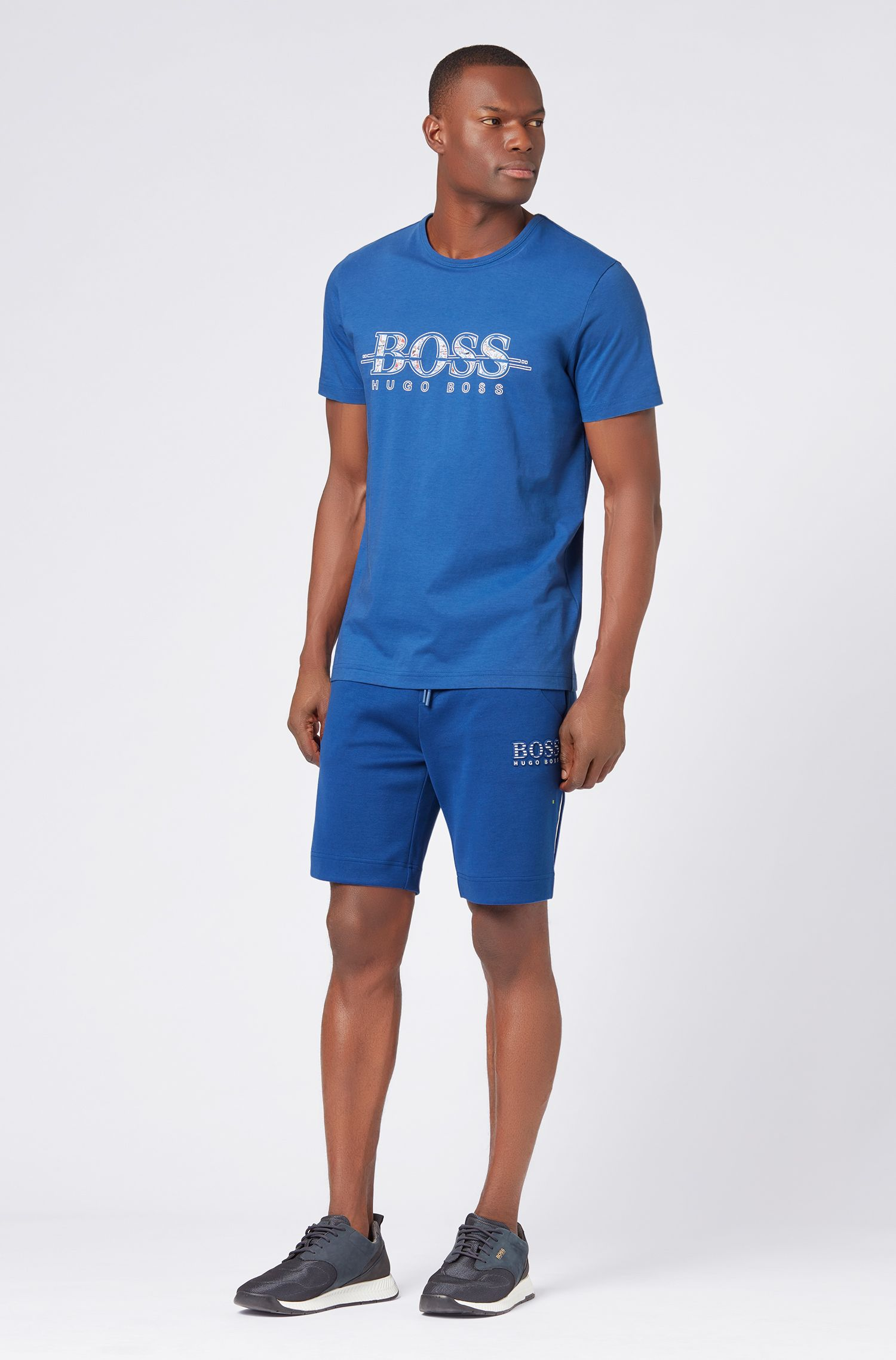 Cotton-blend shorts with reflective elements, Blue