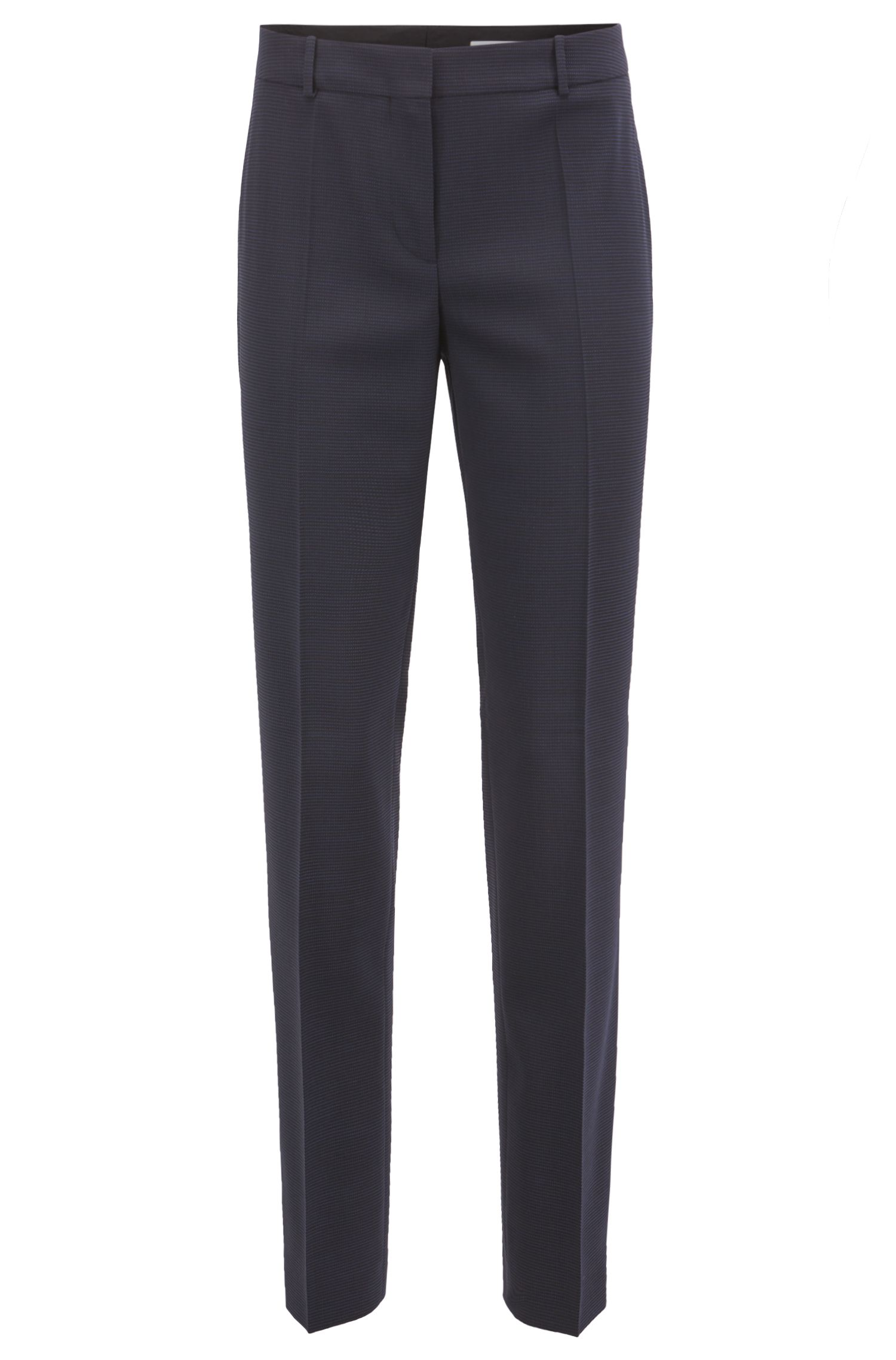 Slim-fit trousers in Italian stretch virgin wool, Patterned