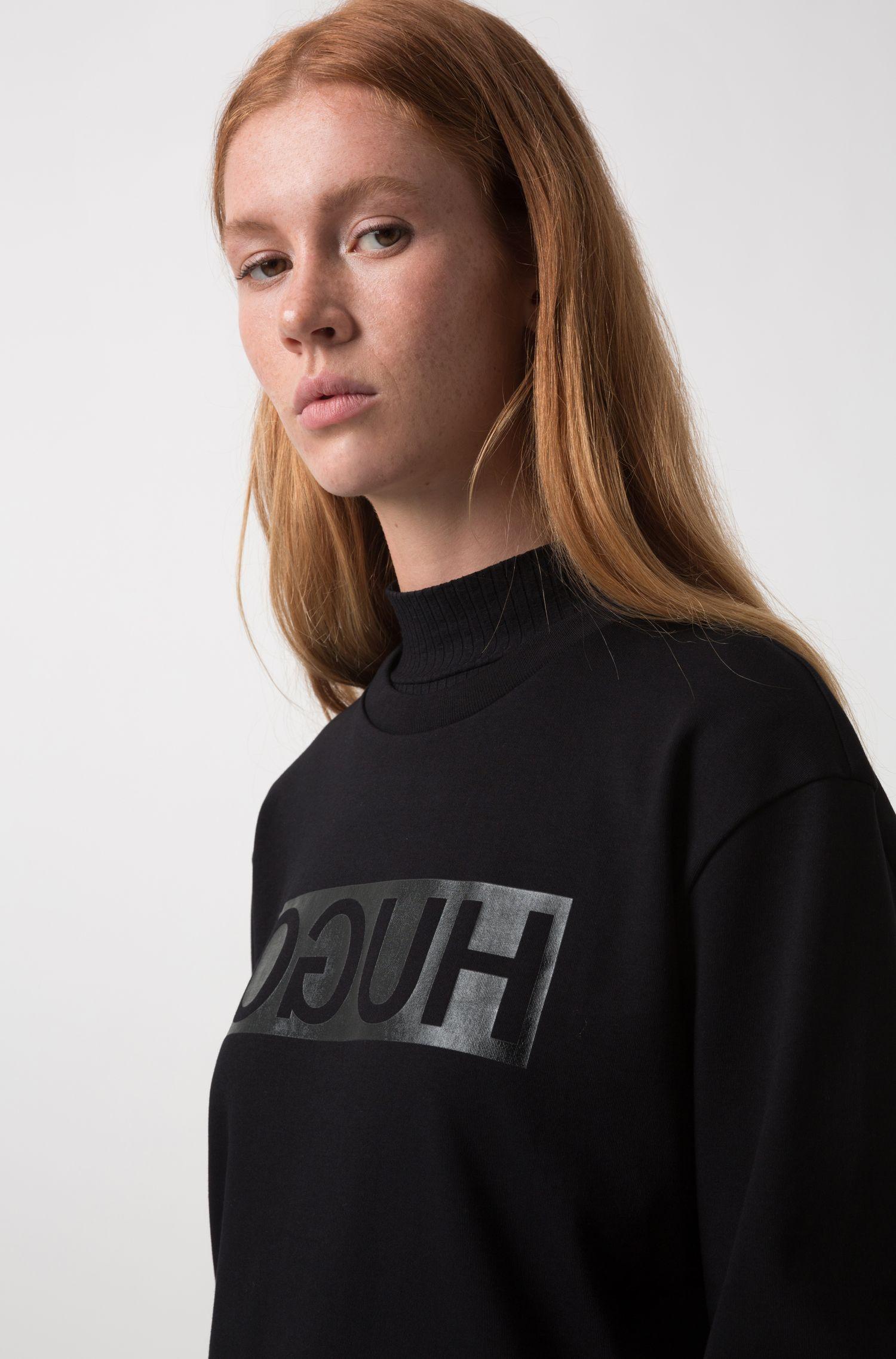 T-shirt à manches longues Relaxed Fit à logo inversé brillant, Noir