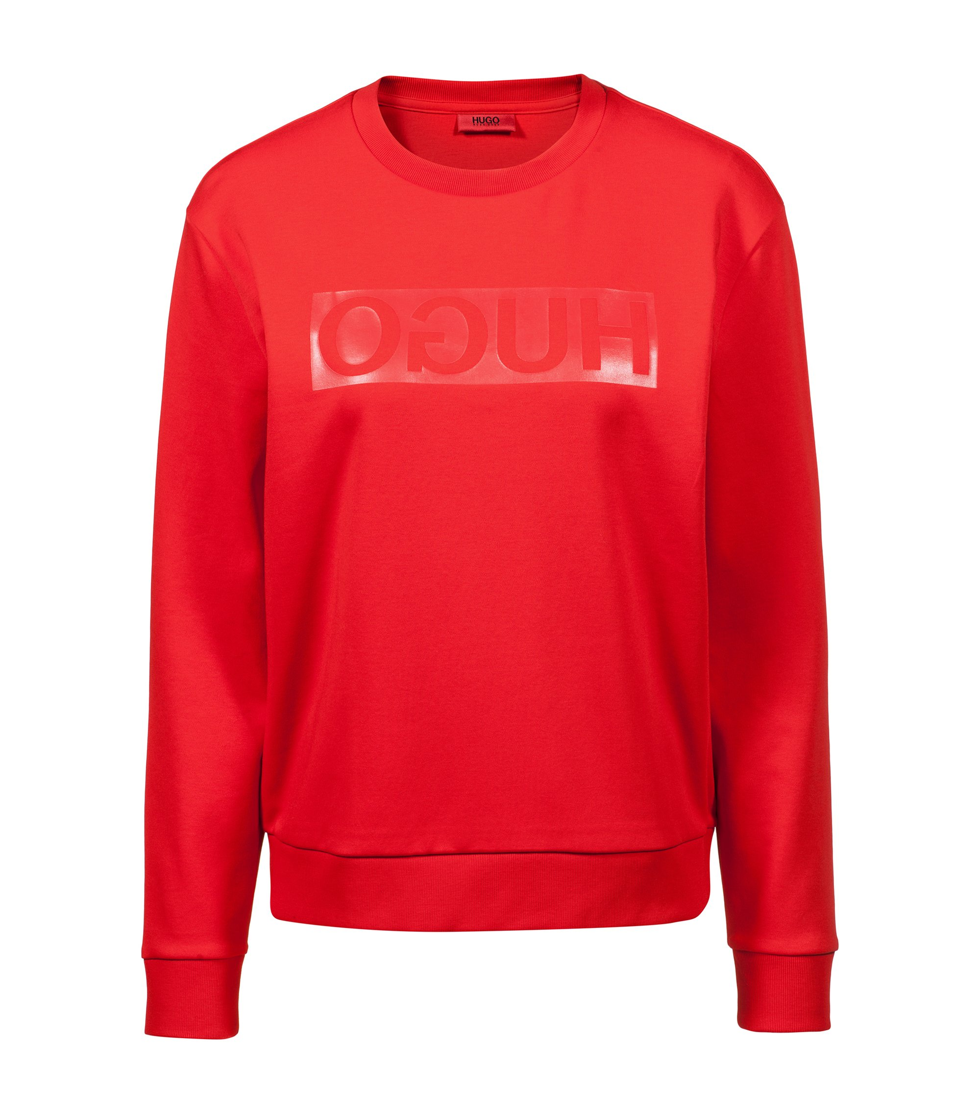 Relaxed-fit long-sleeved T-shirt with glossy reverse logo, Red