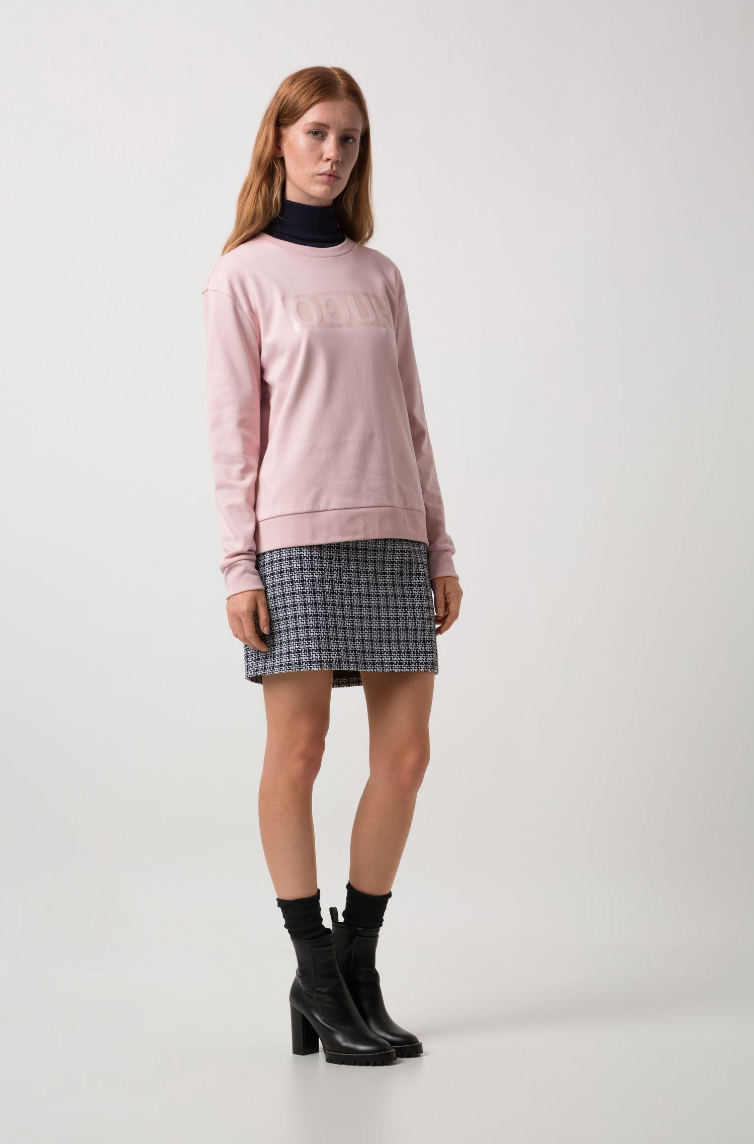 T-shirt à manches longues Relaxed Fit à logo inversé brillant, Rose clair