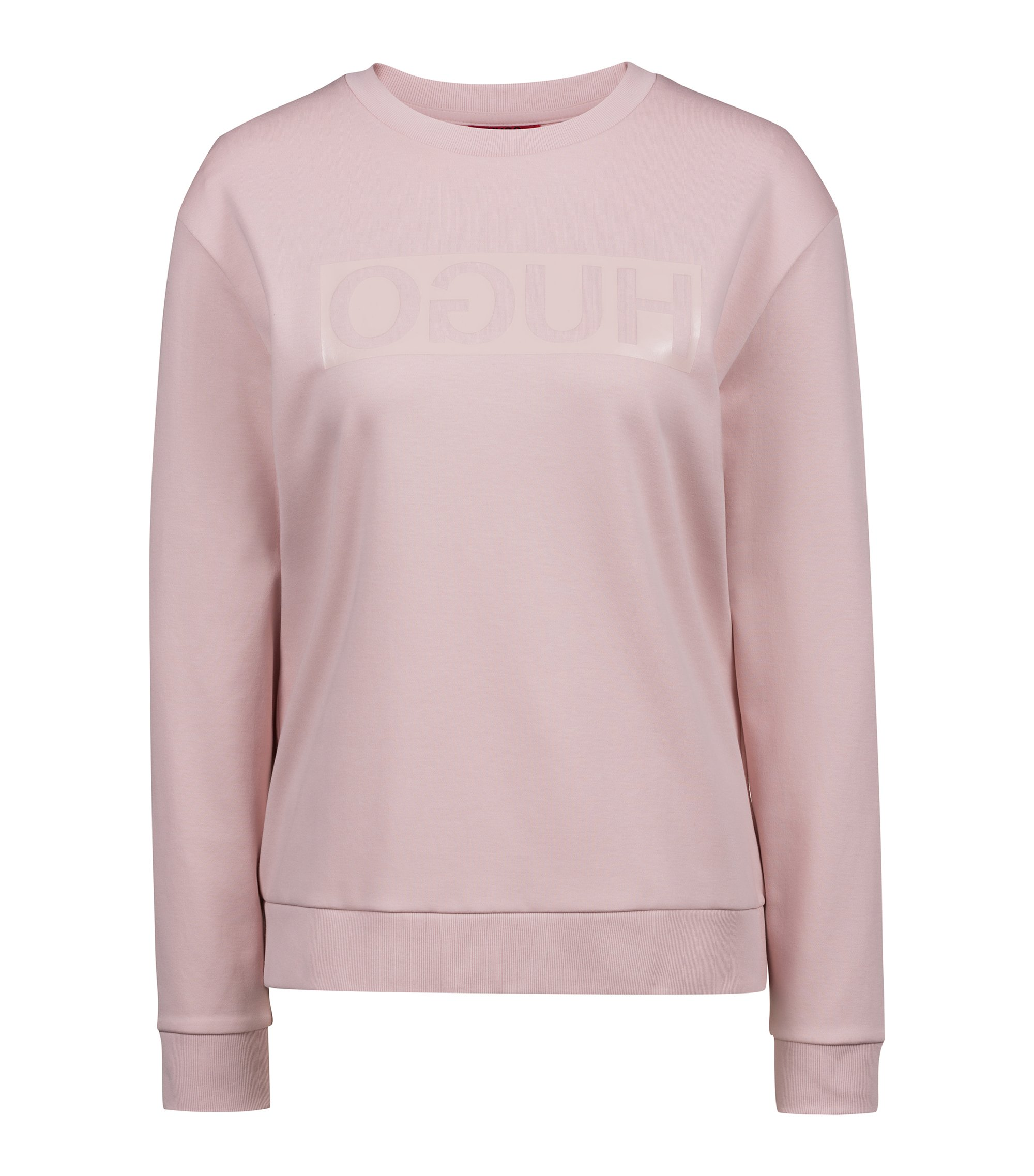 Relaxed-fit long-sleeved T-shirt with glossy reverse logo, light pink