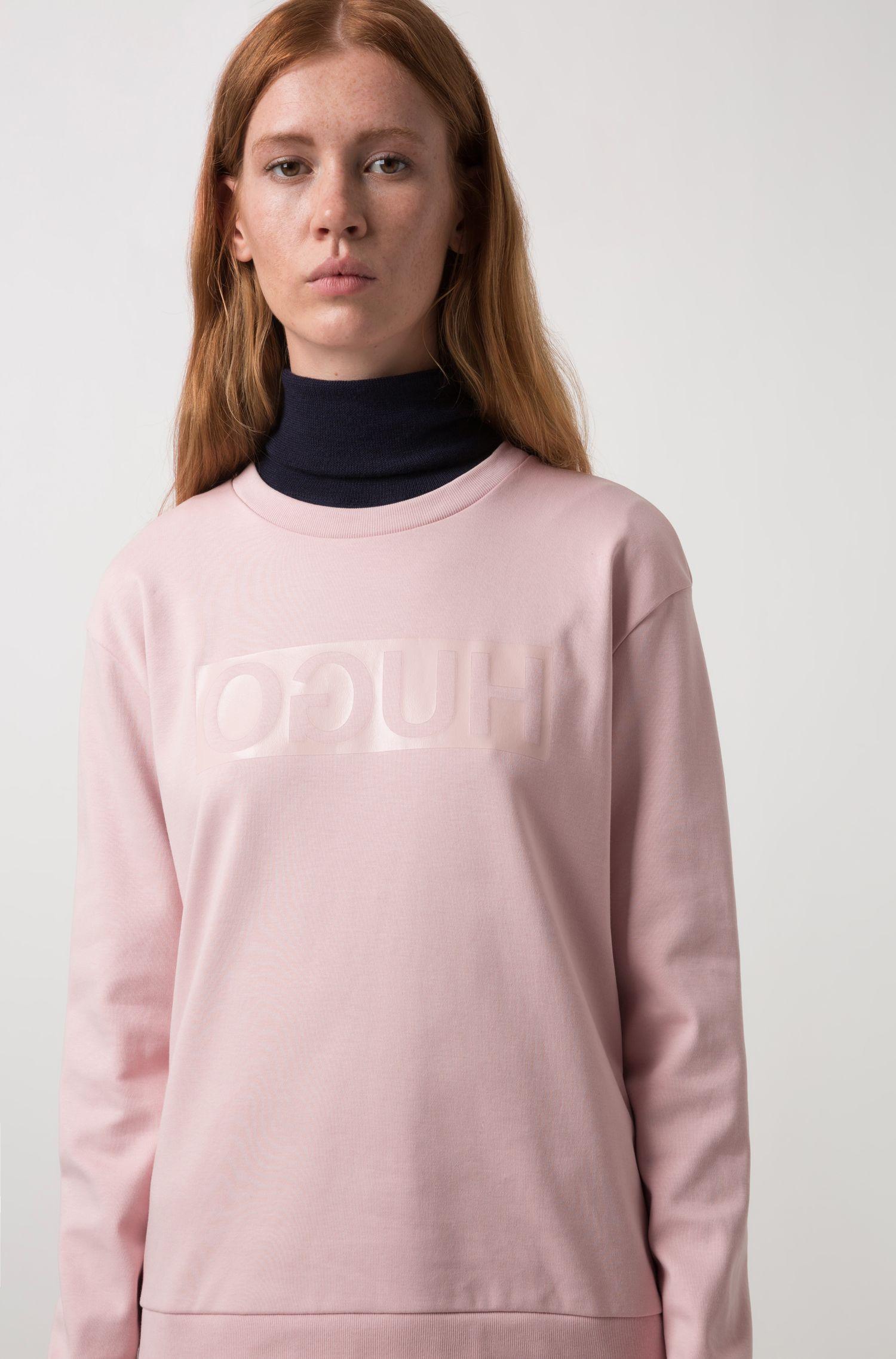 Relaxed-fit T-shirt met lange mouwen en glanzend gespiegeld logo, Lichtroze