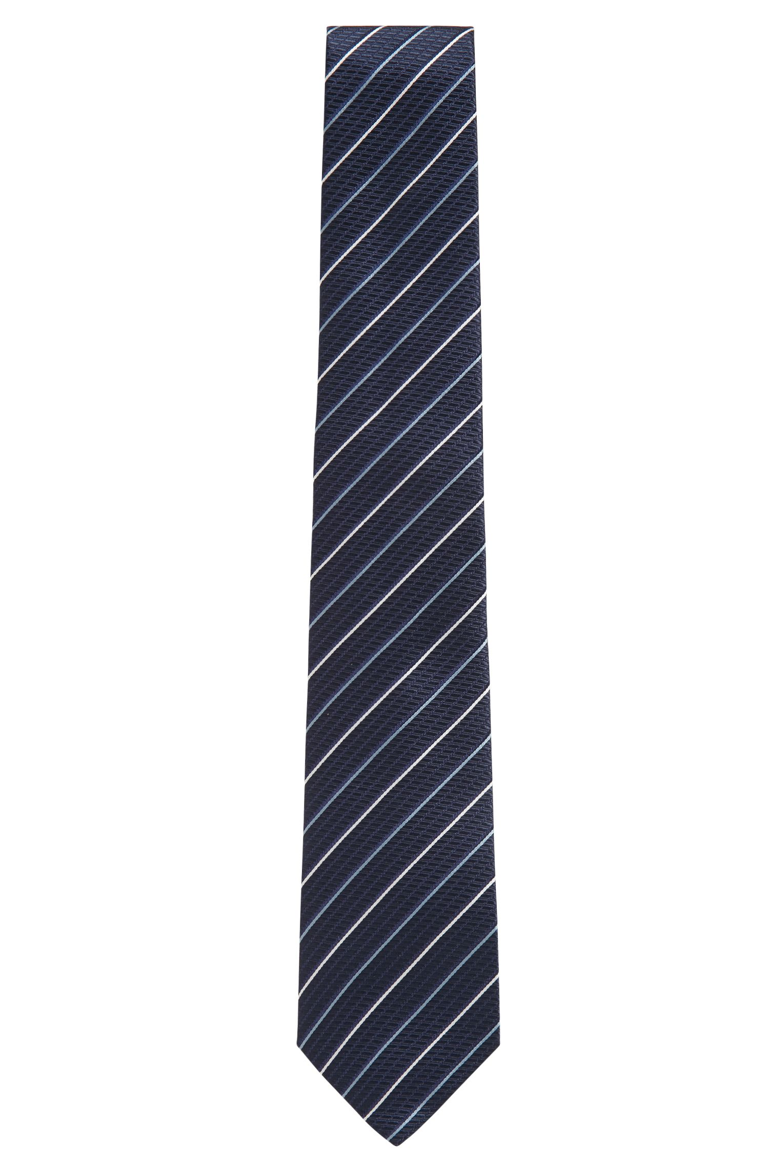 Italian-made silk tie with diagonal stripes, Patterned