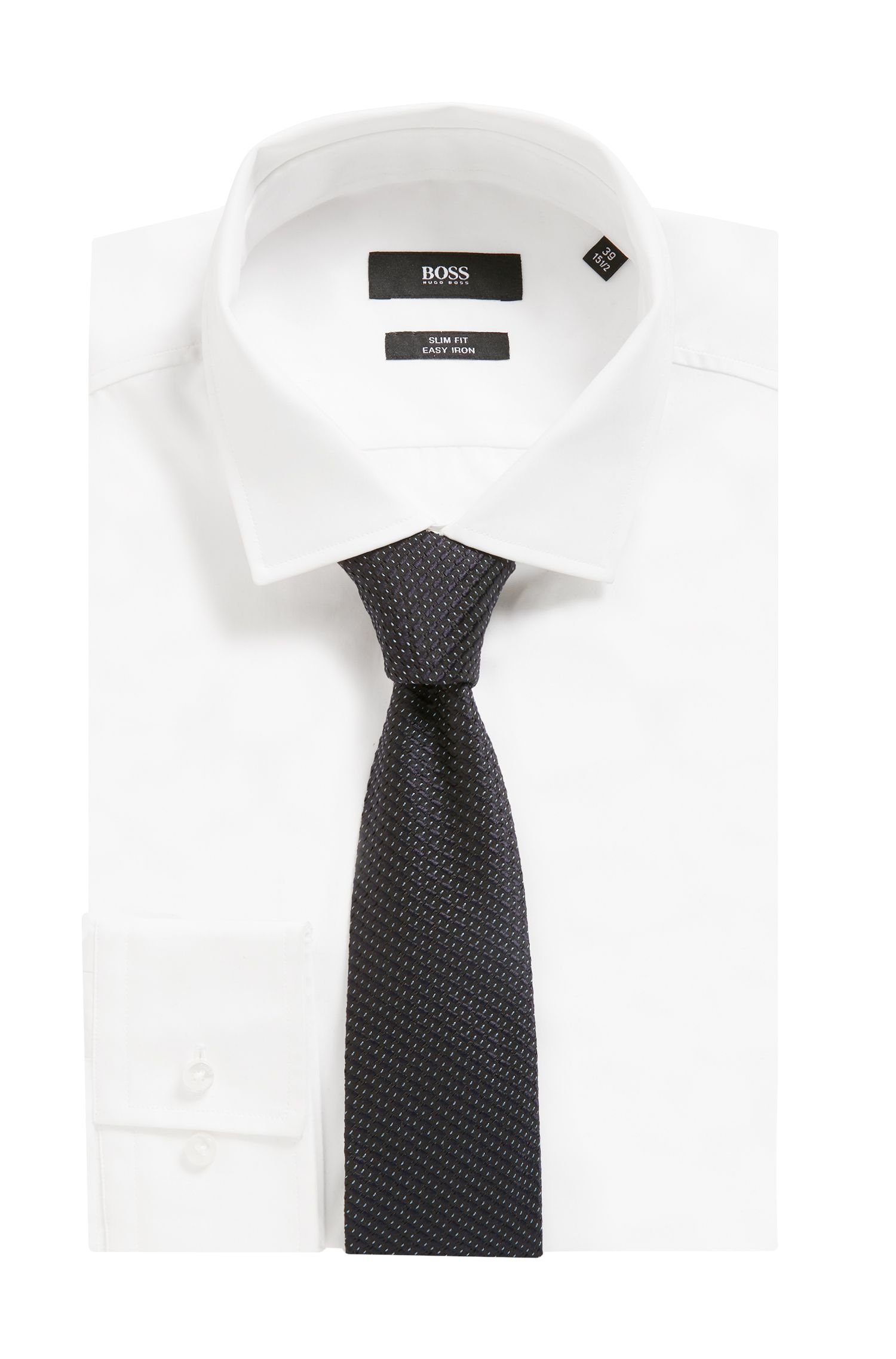 Micro-pattern silk tie handmade in Italy, Patterned