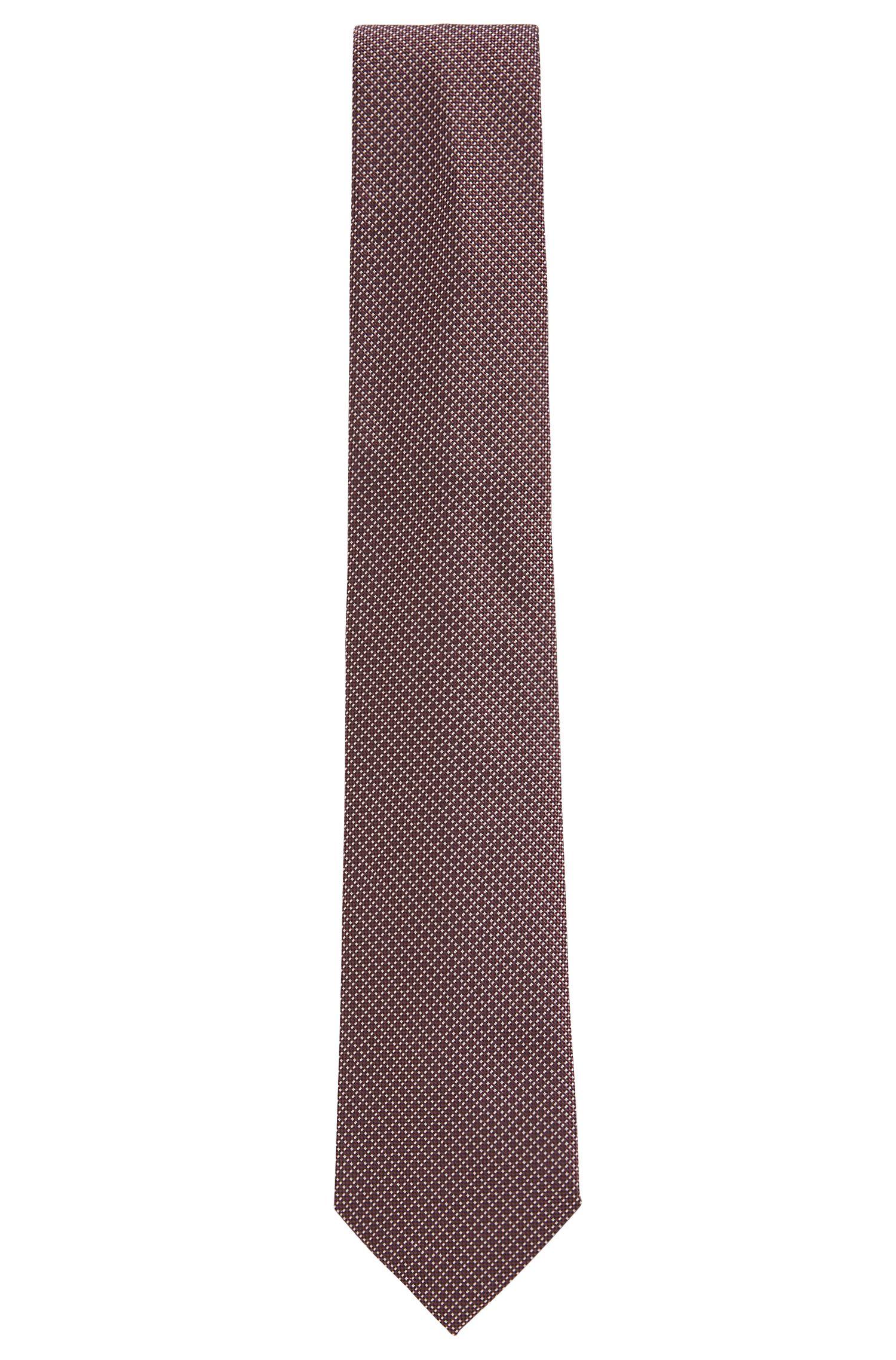 In Italië met de hand vervaardigde stropdas van zijde met microdessin, Donkerrood