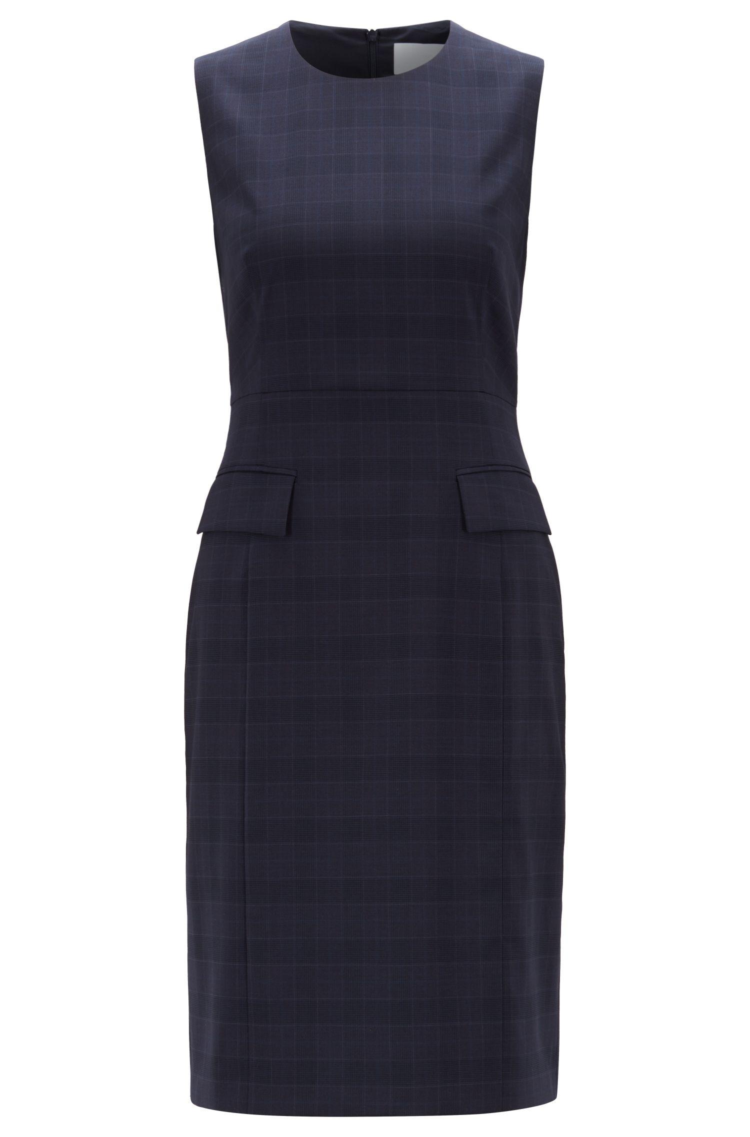 Ärmelloses Business-Kleid aus karierter Schurwolle, Gemustert