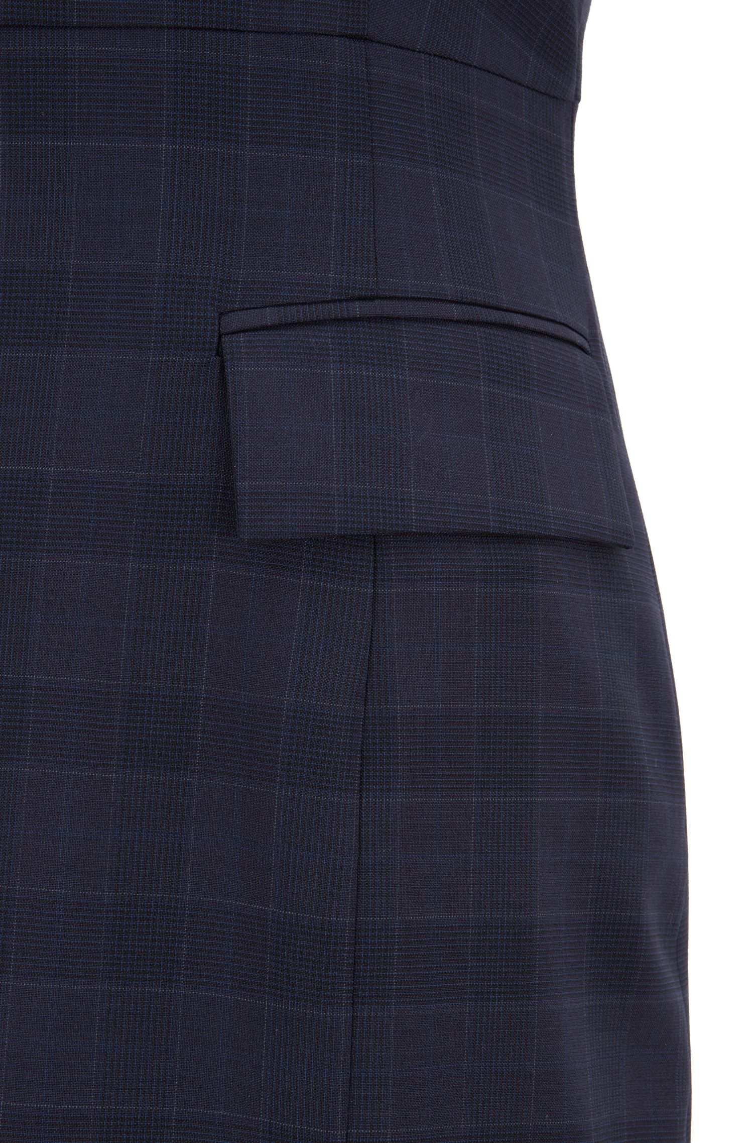 Sleeveless business dress in checked virgin wool, Patterned