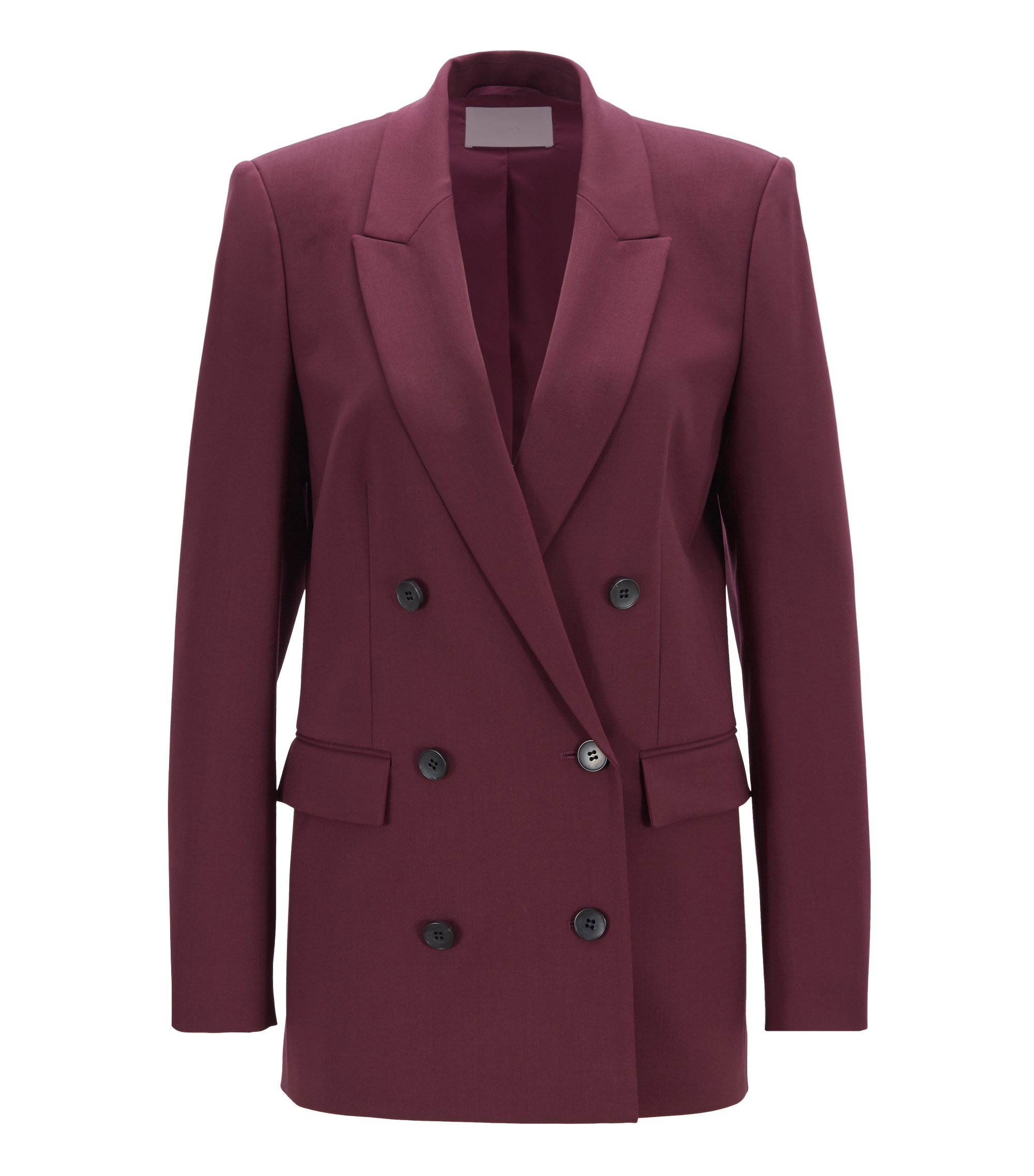 Relaxed-fit double-breasted blazer in Italian stretch virgin wool, Dark pink