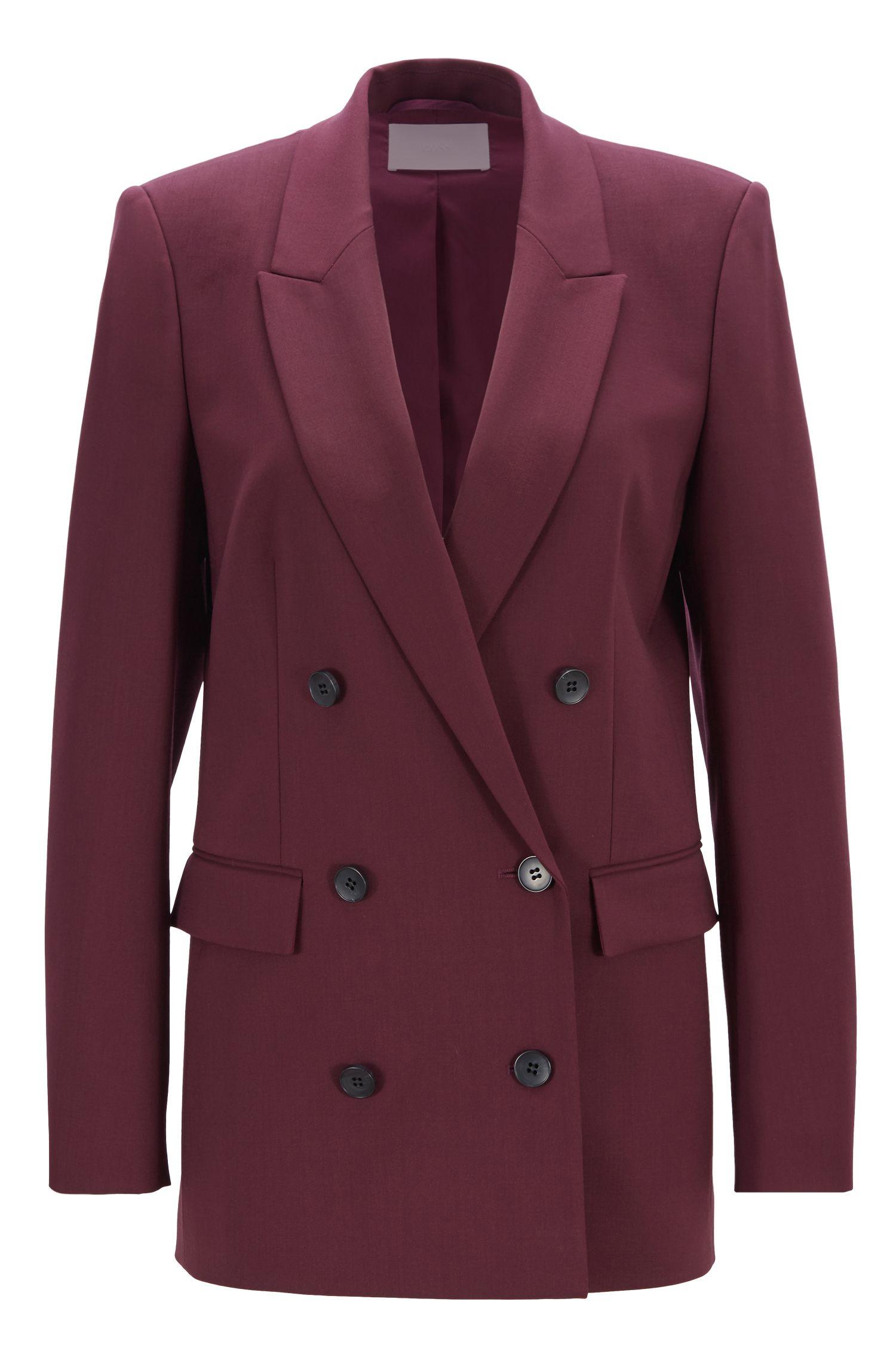 Blazer a doppiopetto relaxed fit in lana vergine elasticizzata prodotta in Italia, Rosa scuro