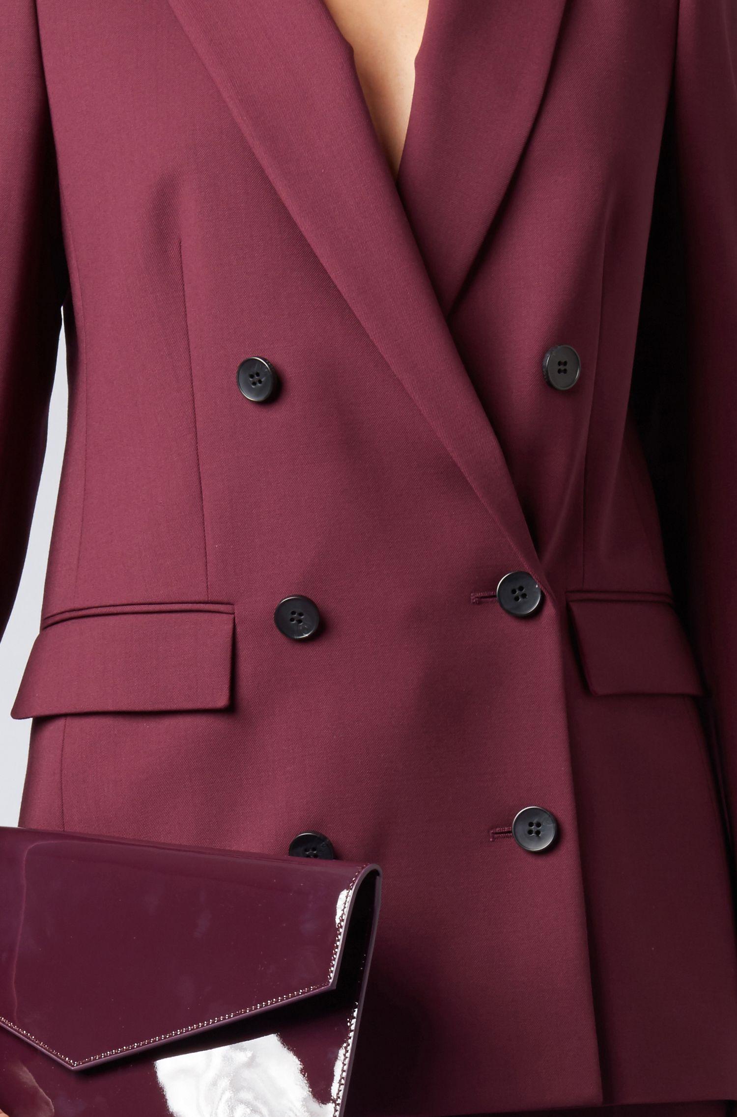 Blazer croisé Relaxed Fit en laine vierge stretch italienne, Rose foncé