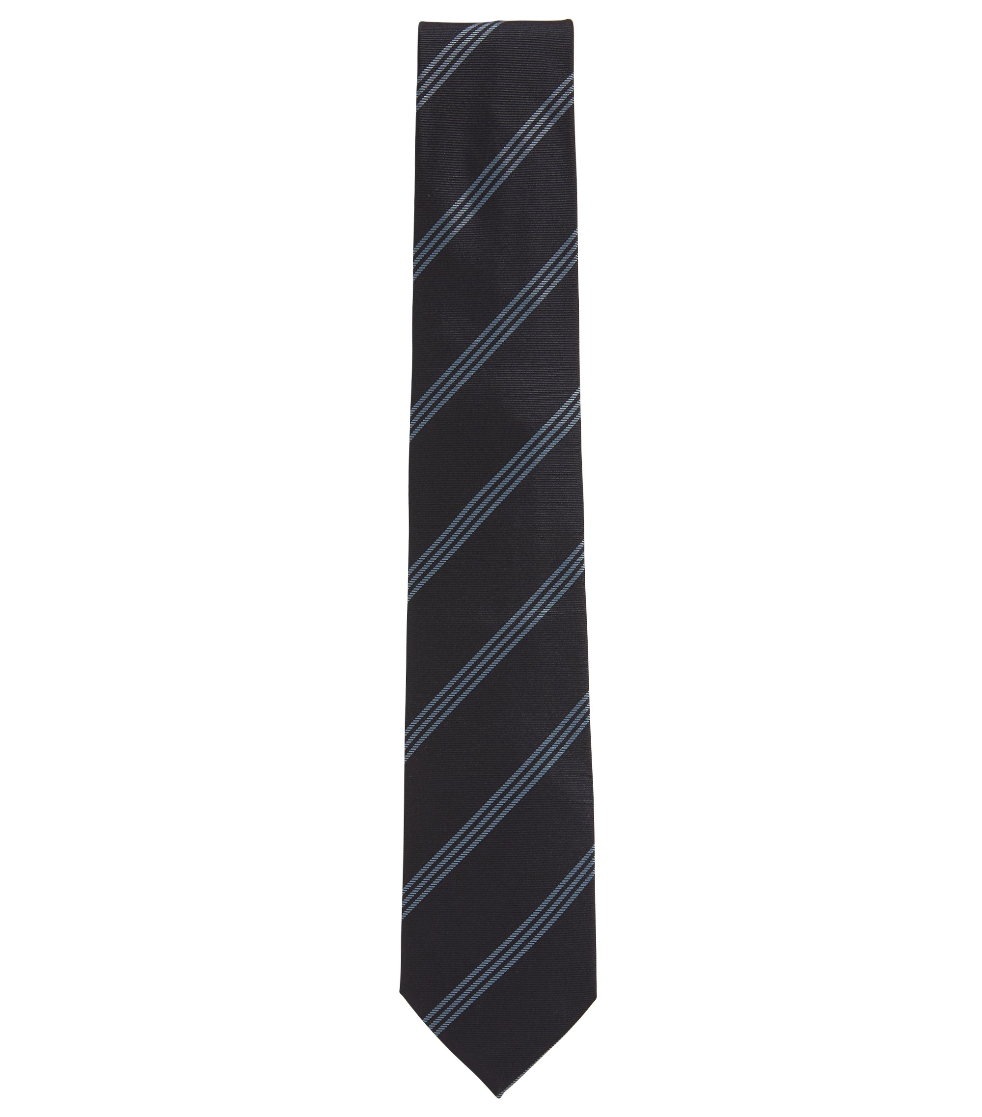 Italian-made silk tie with triple diagonal stripes, Patterned