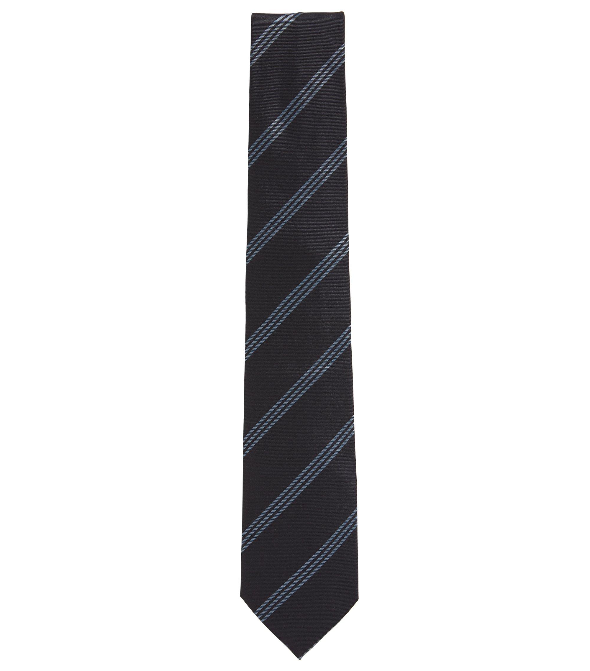 Corbata con rayas diagonales triples en seda elaborada en Italia, Fantasía
