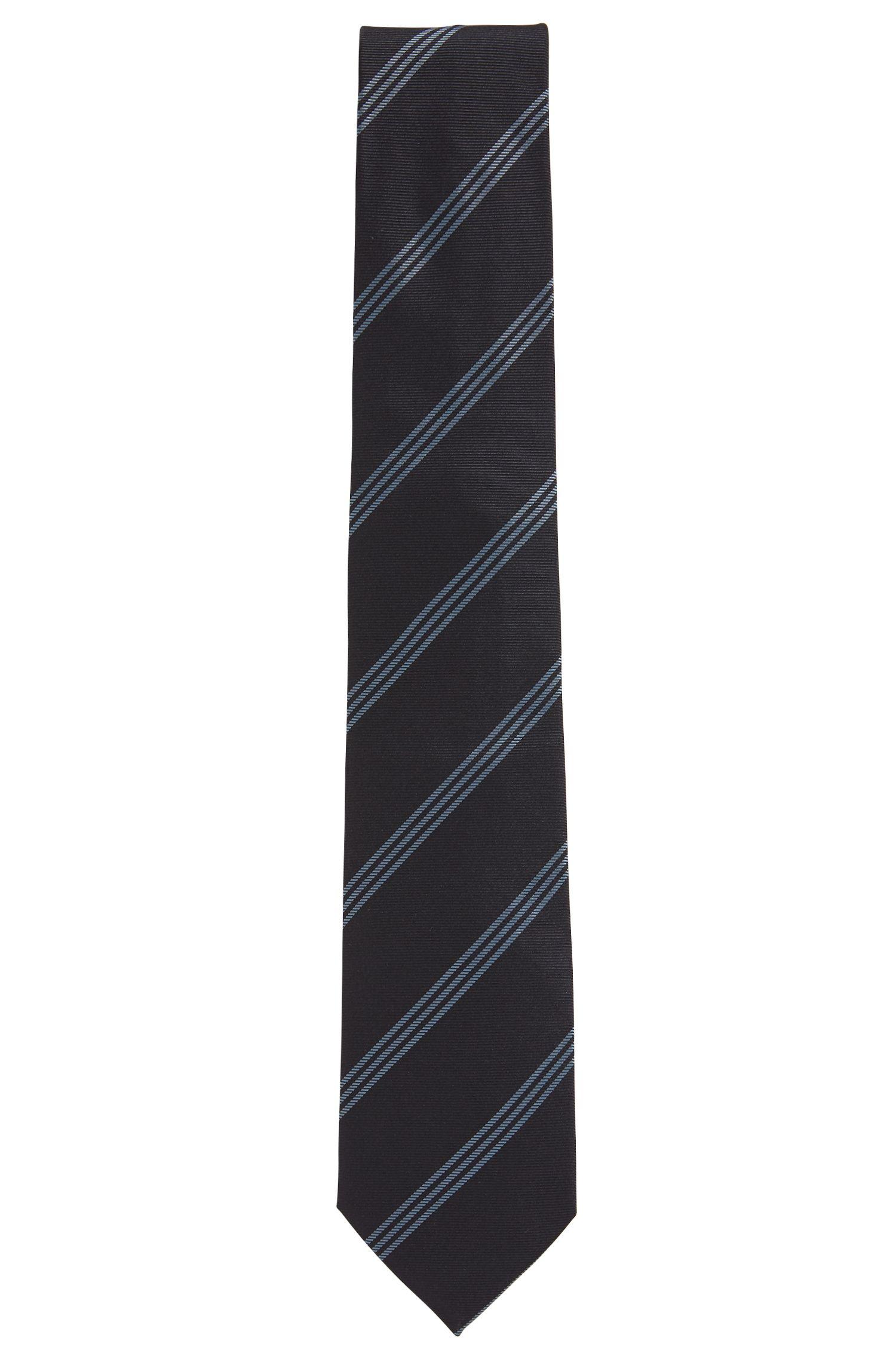 Cravate en soie confectionnée en Italie avec jeu de triples rayures en diagonale, Fantaisie