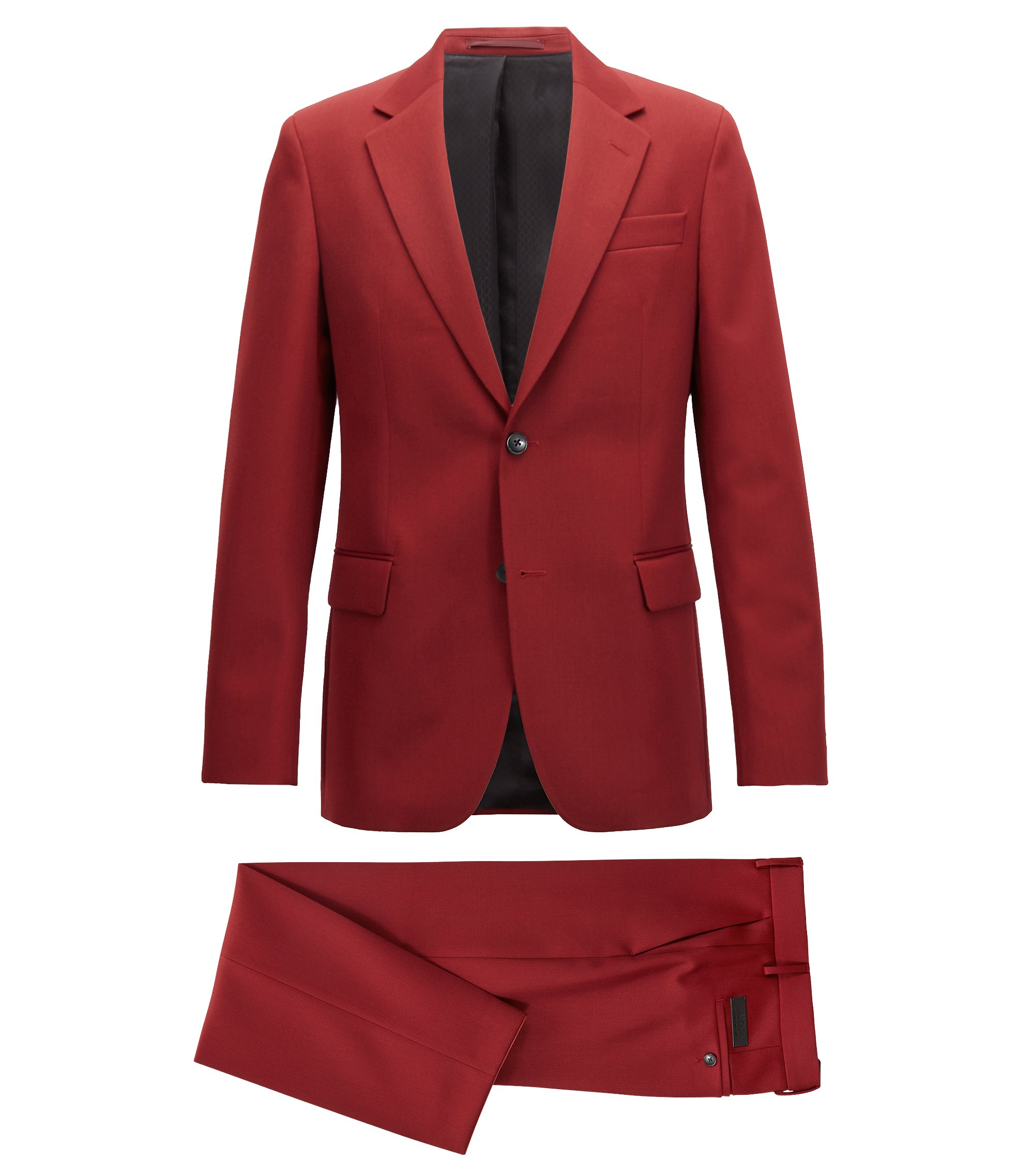 Made in Germany slim-fit suit in virgin-wool twill, Dark Red