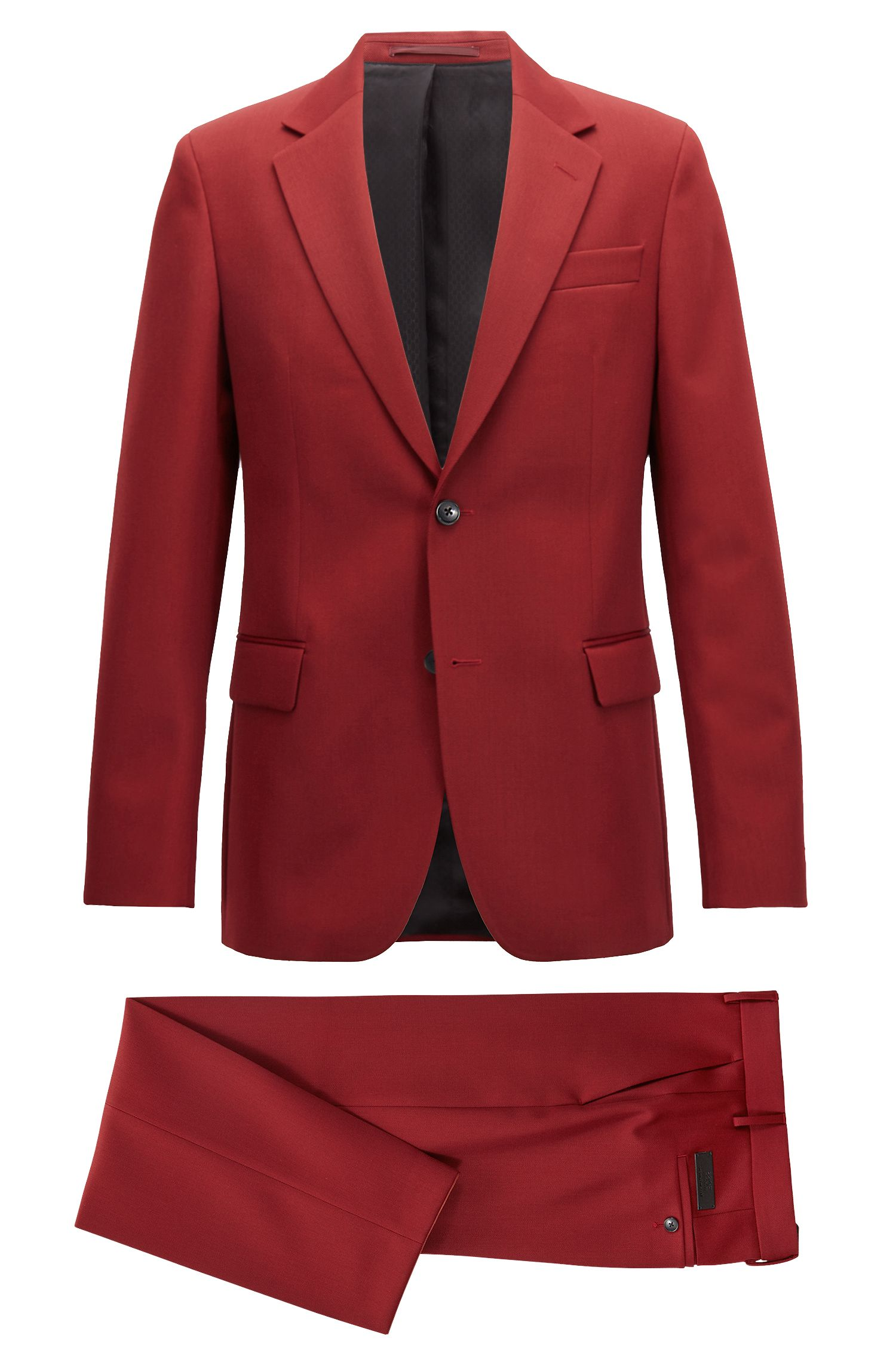 Costume Slim Fit Made in Germany en twill de laine vierge, Rouge sombre