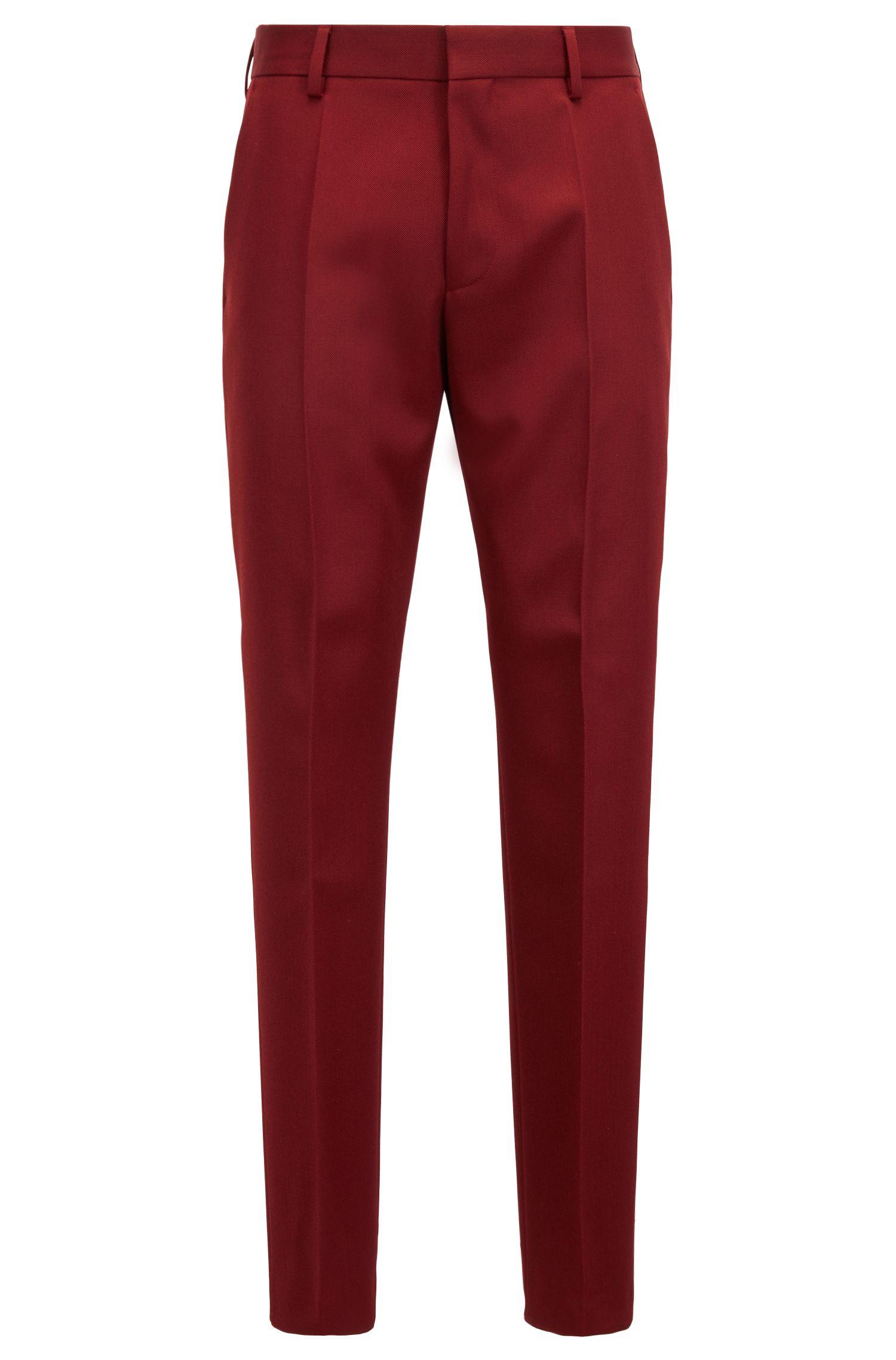 Traje slim fit confeccionado en Alemania con sarga de lana virgen, Rojo oscuro