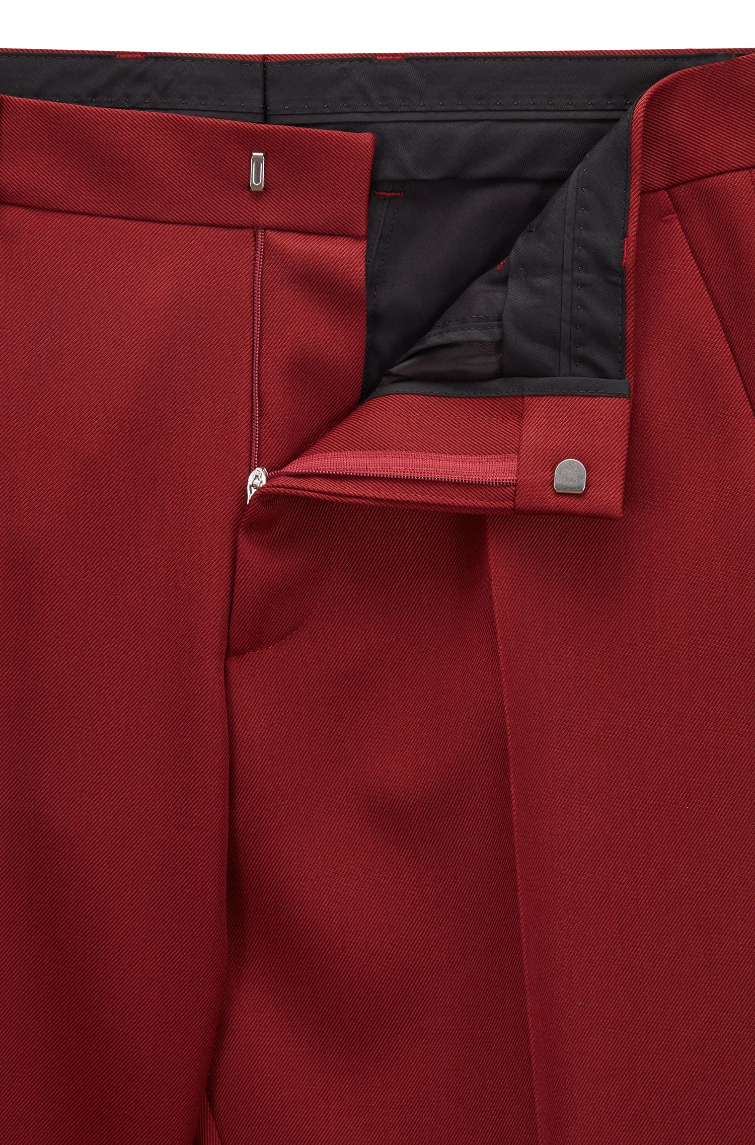 Made in Germany slim-fit kostuum, gemaakt van een twill van scheerwol, Donkerrood