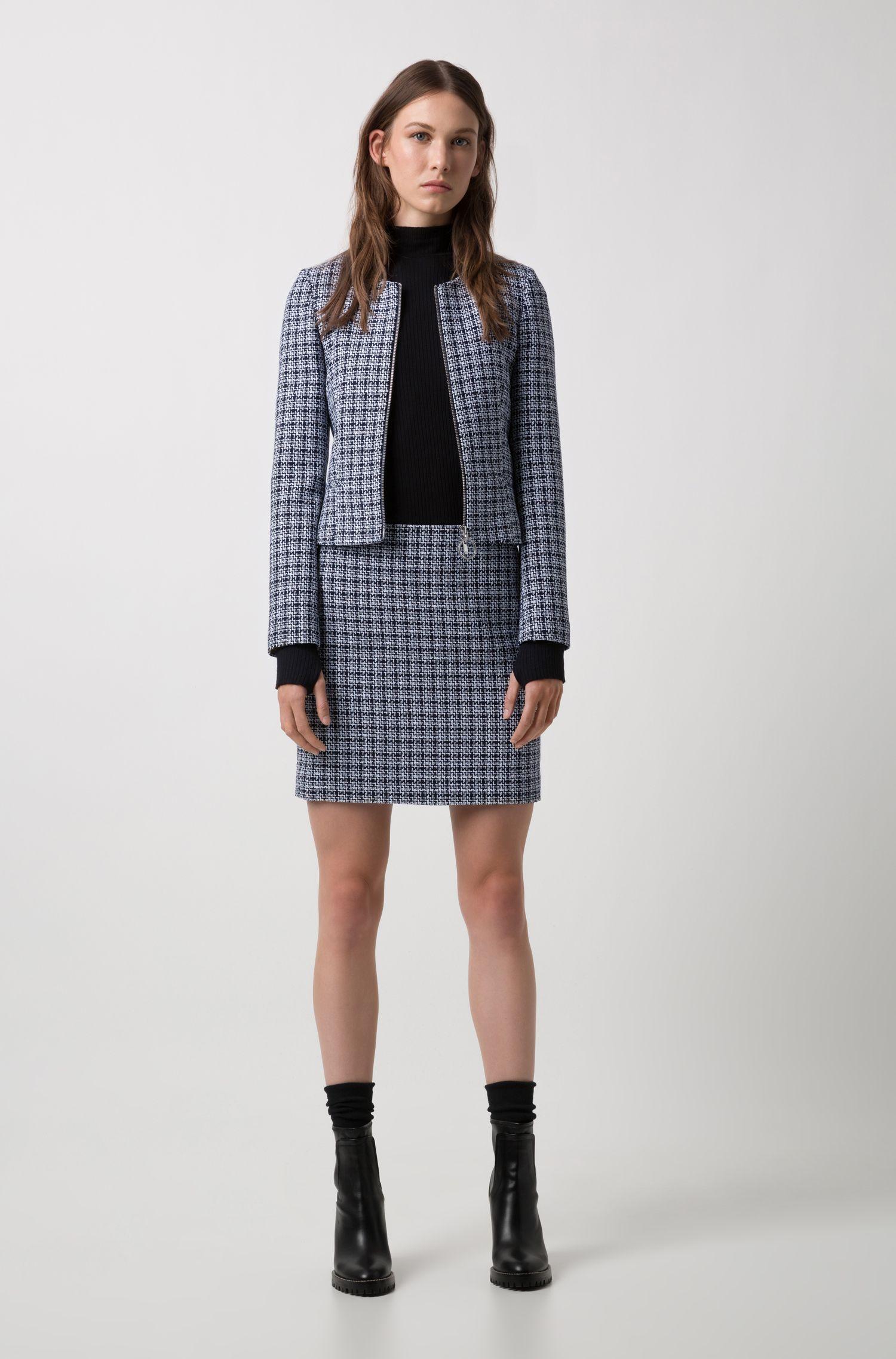 Kraagloze blazer in een middelzware tweed met rits aan de voorkant, Bedrukt