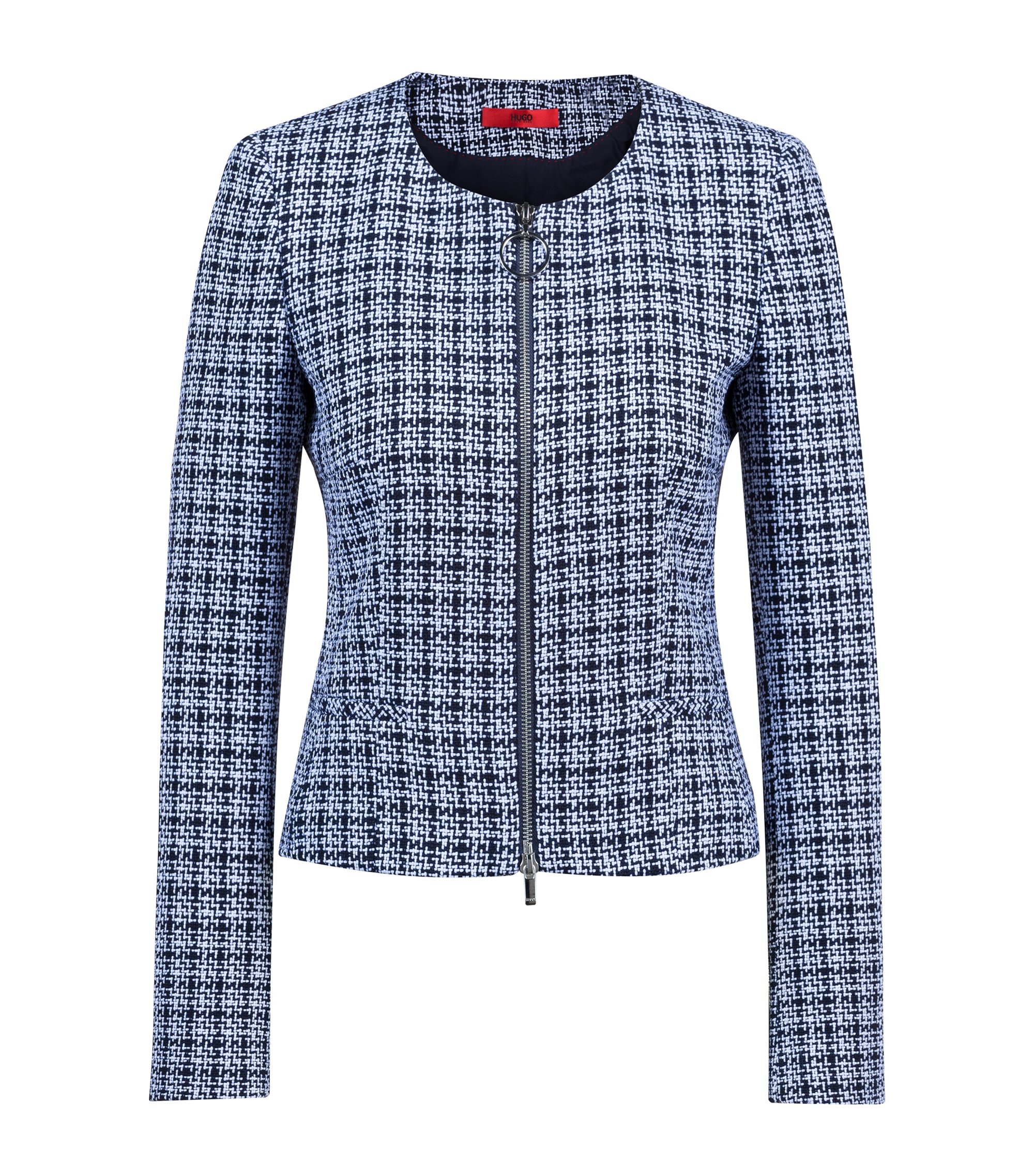 Collarless blazer in midweight tweed with front zip, Patterned