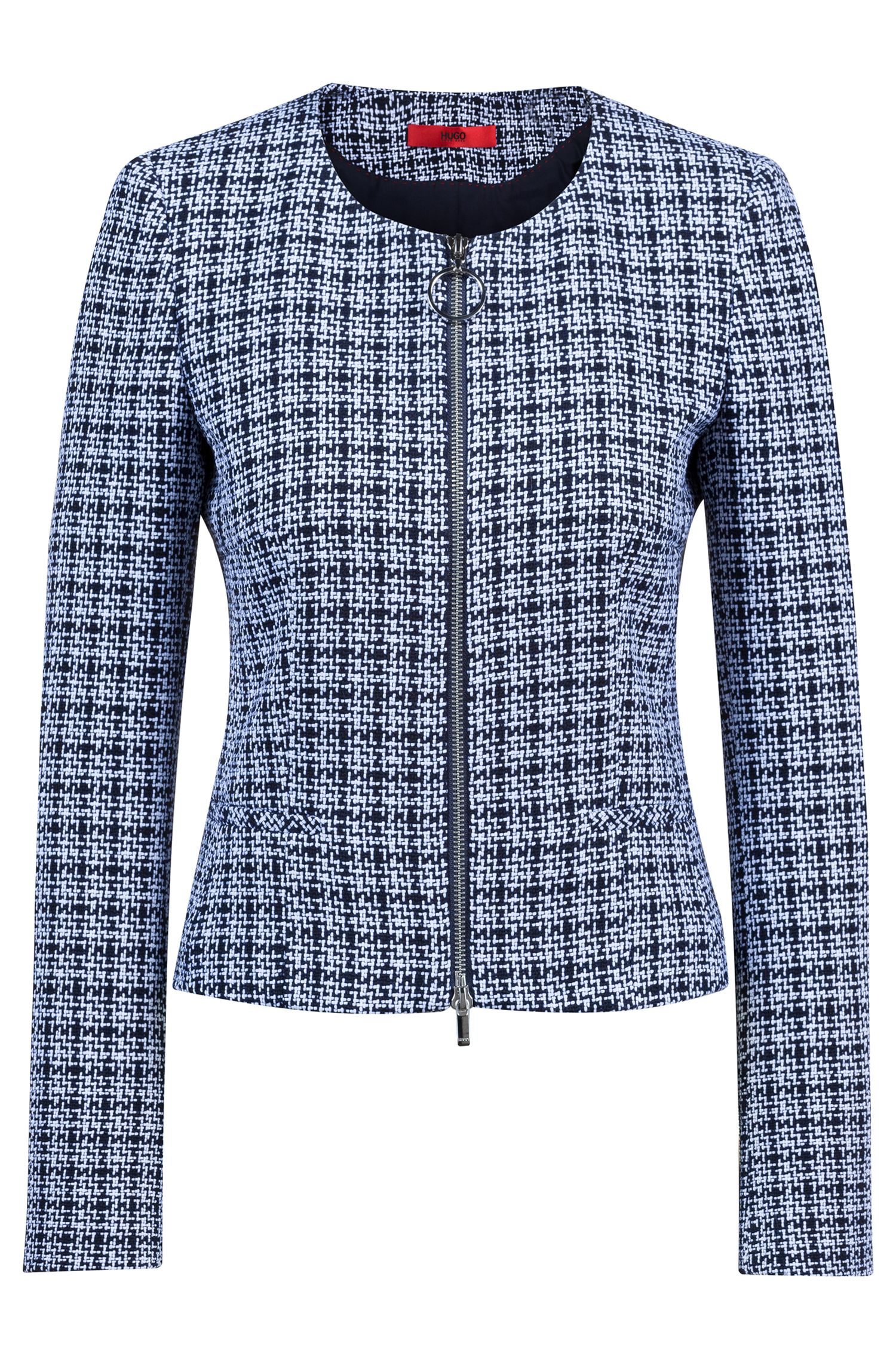 Collarless blazer in midweight tweed with front zip