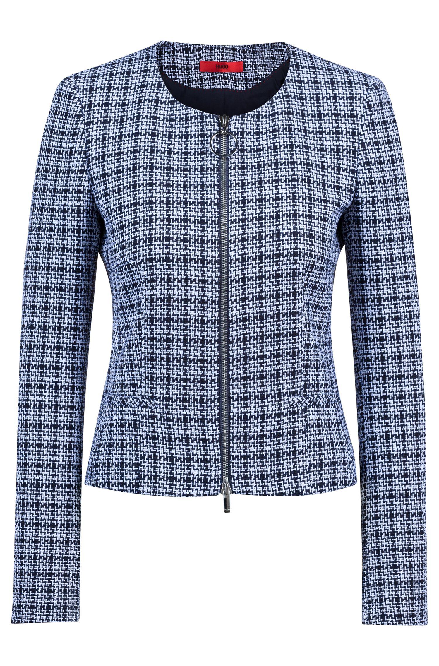Kragenloser Blazer aus mittelschwerem Tweed mit Reißverschluss, Gemustert