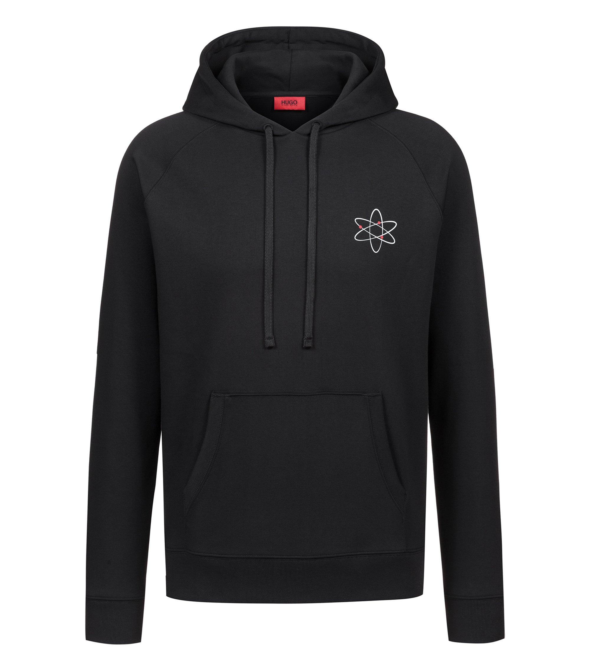 Kapuzen-Sweatshirt mit Atom-Print und Reversed-Logo, Schwarz