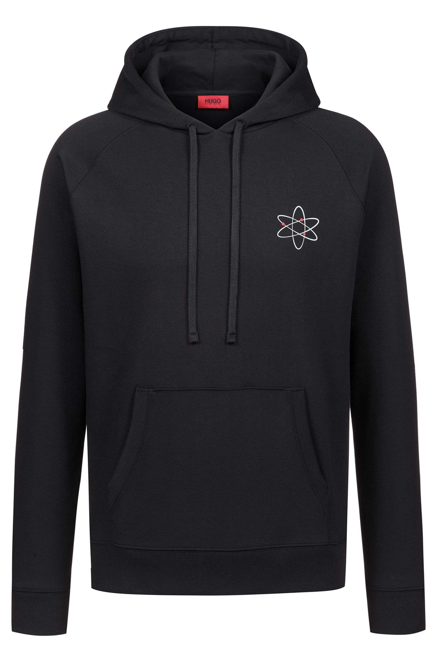 Oversized-fit hoodie with atom print and reverse logo, Black