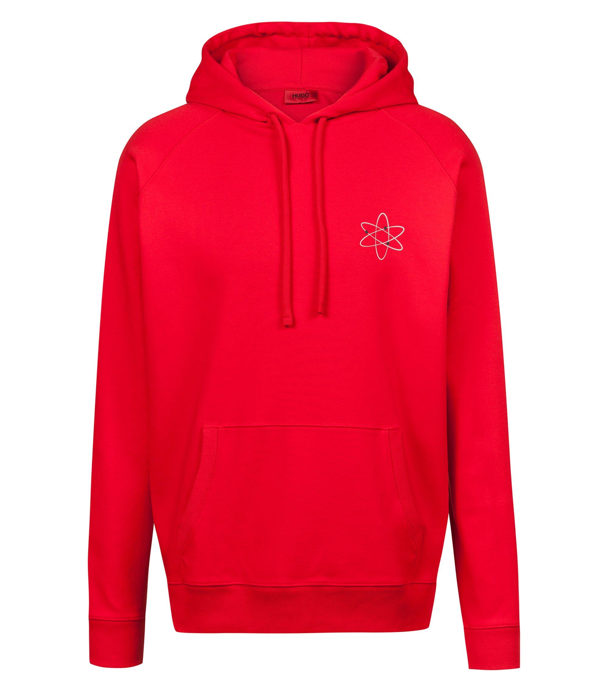 Sudadera con capucha oversized fit con estampado de átomo y logo invertido, Rojo