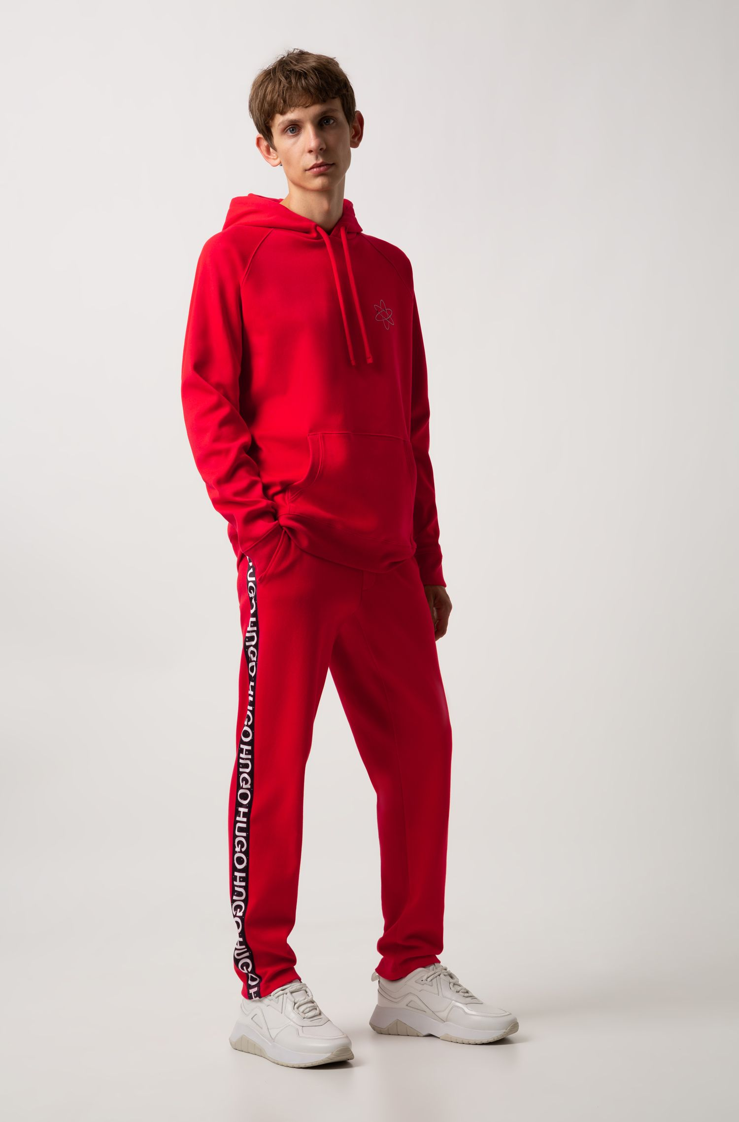 Oversized-fit hoodie with atom print and reverse logo, Red