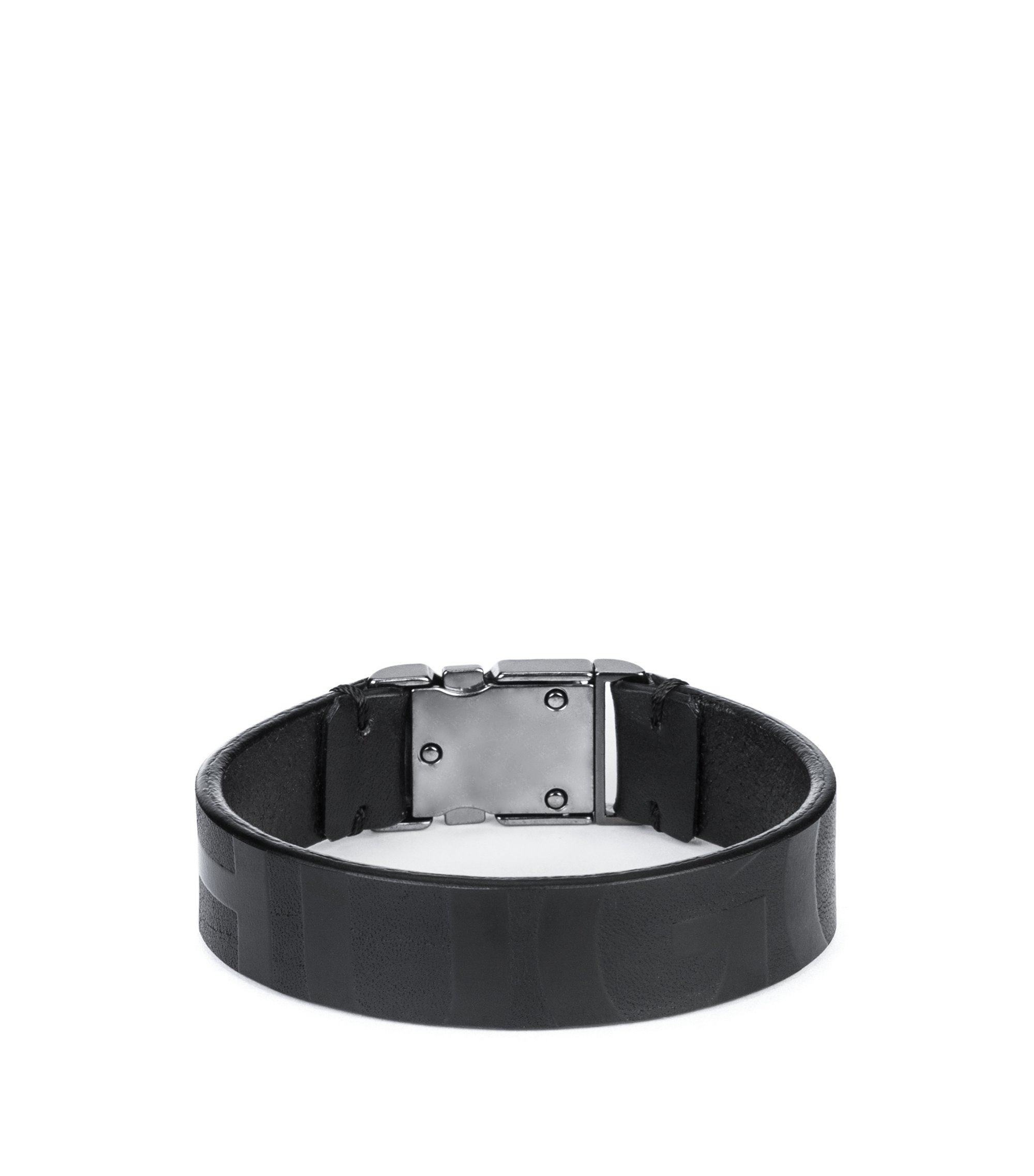 Buckle-closure bracelet in nappa leather with printed logo, Black